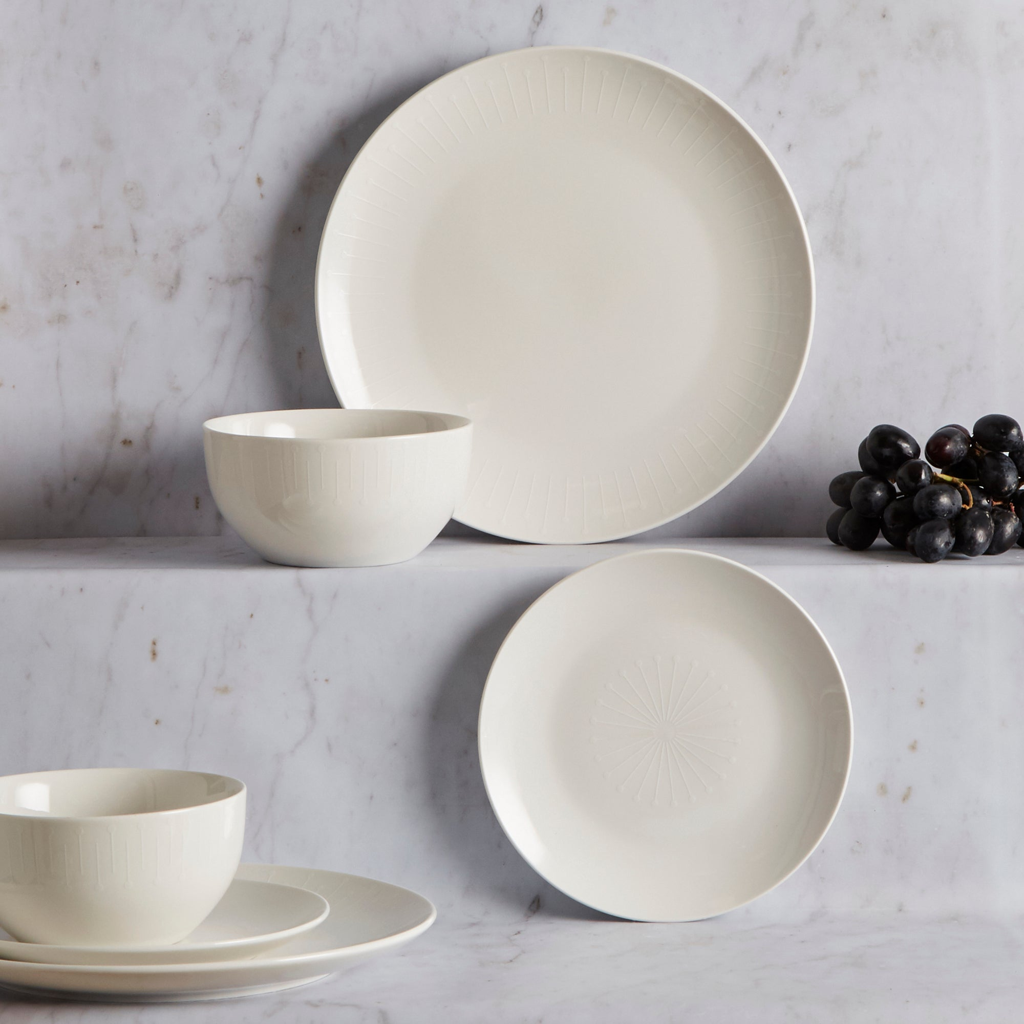 Image of Elements 12 Piece White Decal Dinner Set White
