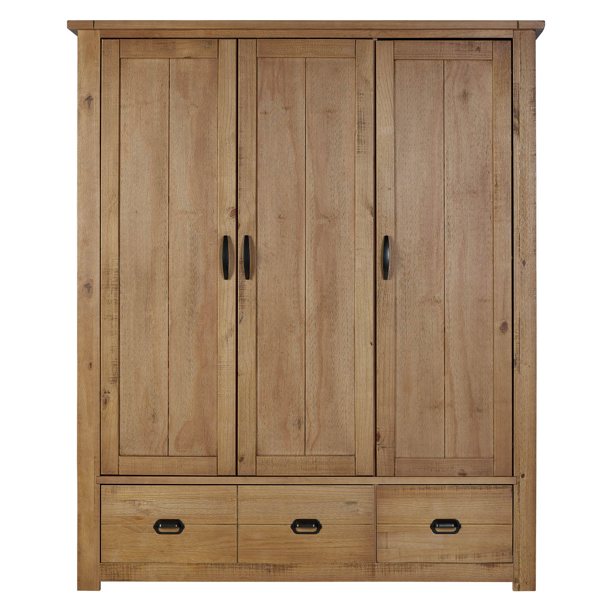 Photo of Fenton pine triple wardrobe brown