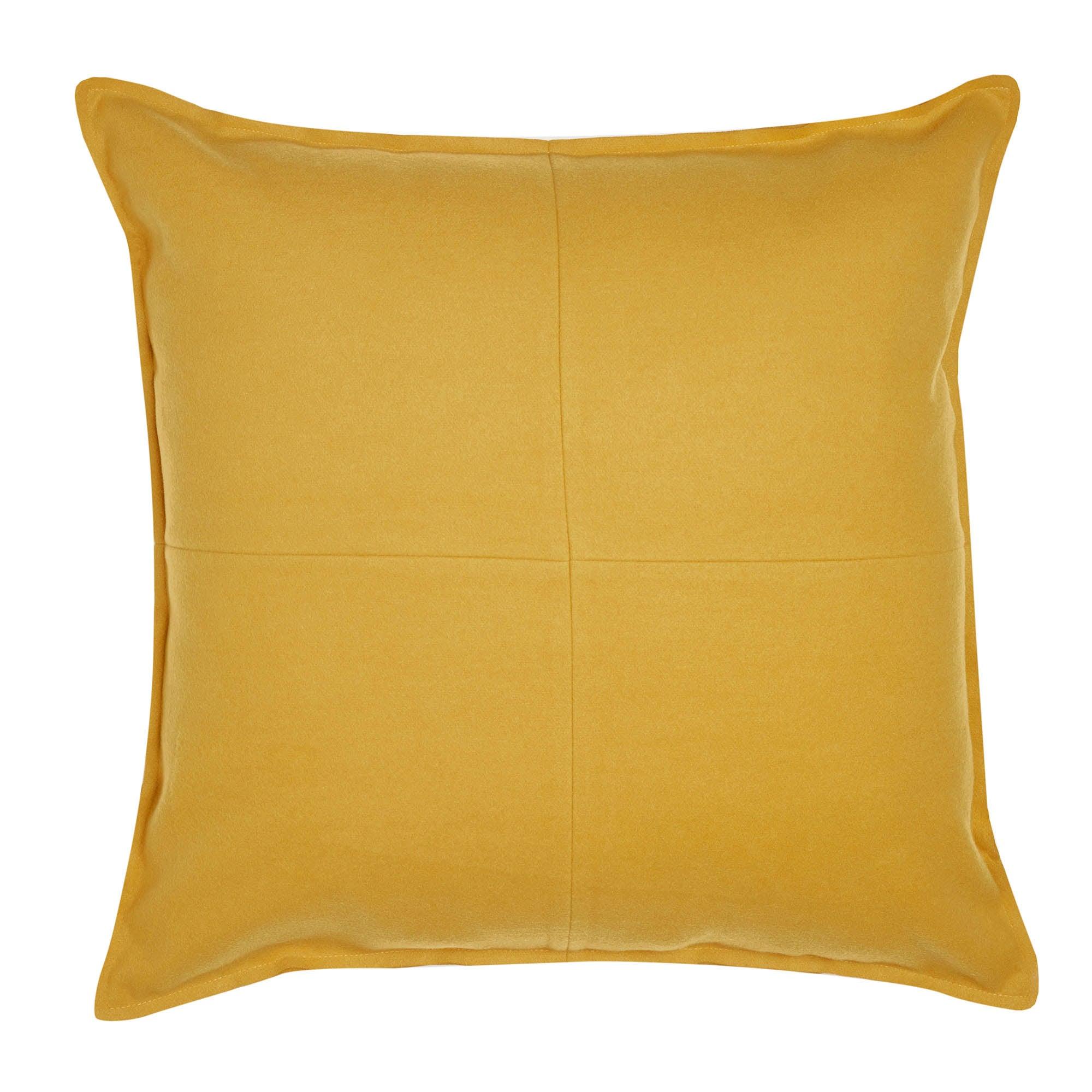 Ochre Patchwork Felt Cushion Ochre (Yellow)