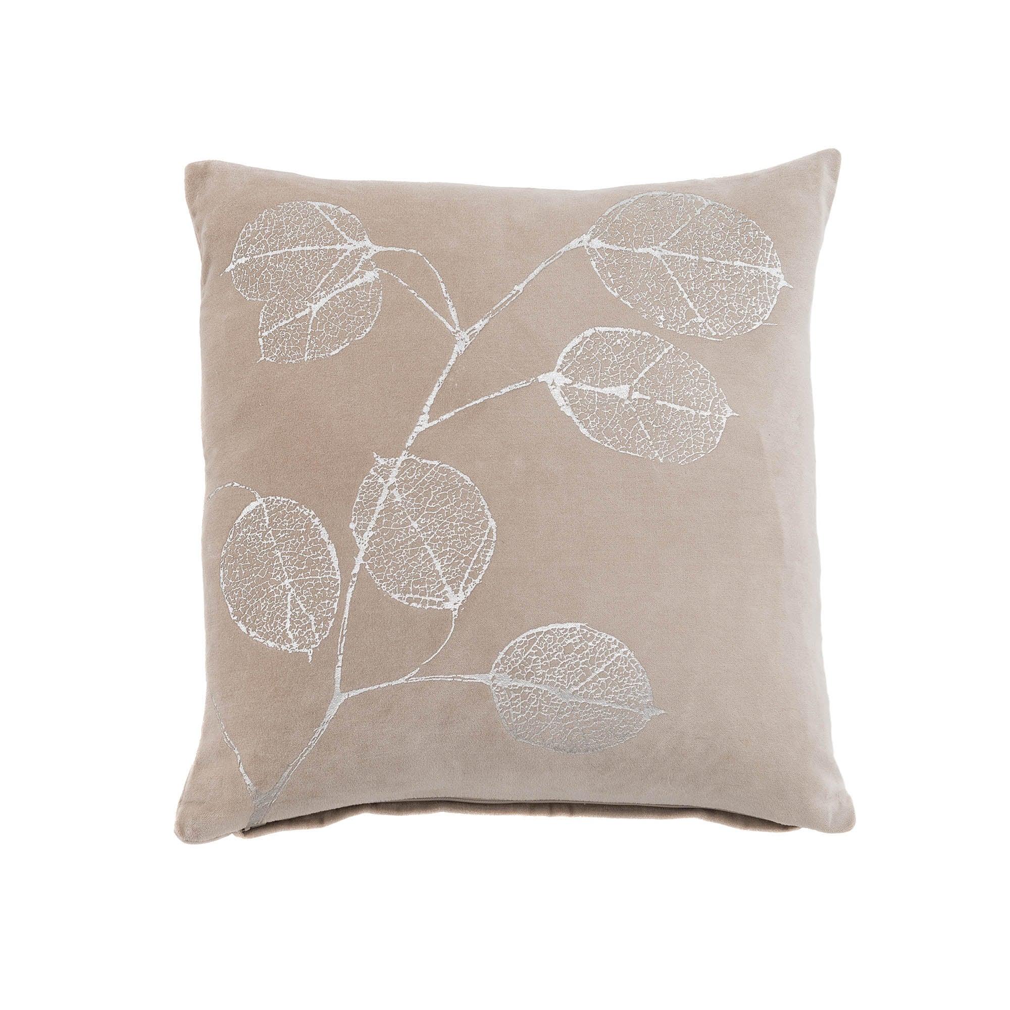 Bella Silver Leaf Cushion Silver