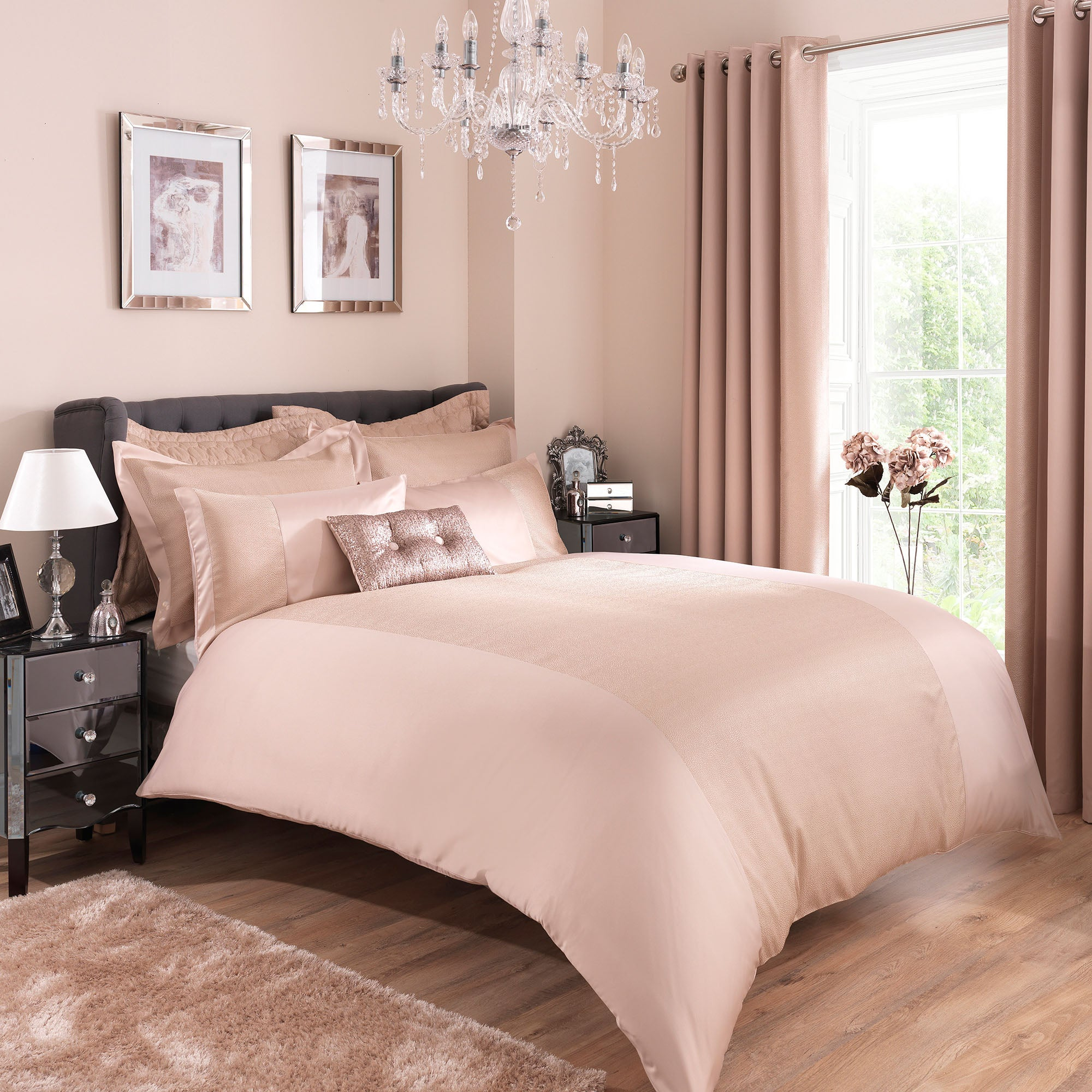Image of Adele Champagne Duvet Cover and Pillowcase Set Champagne (Gold)