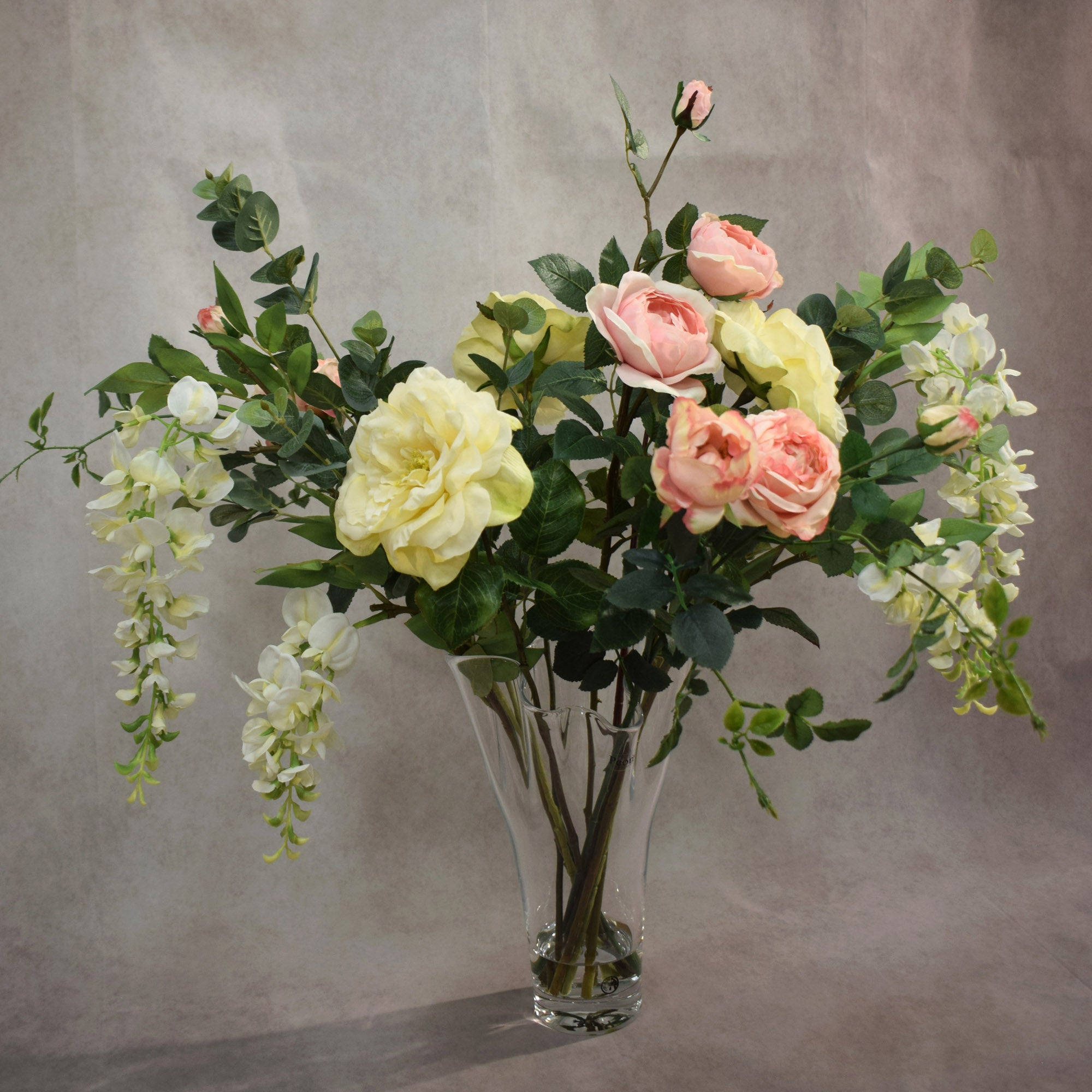 Dorma Rose and Wisteria in Handkerchief Vase Cream (Natural)