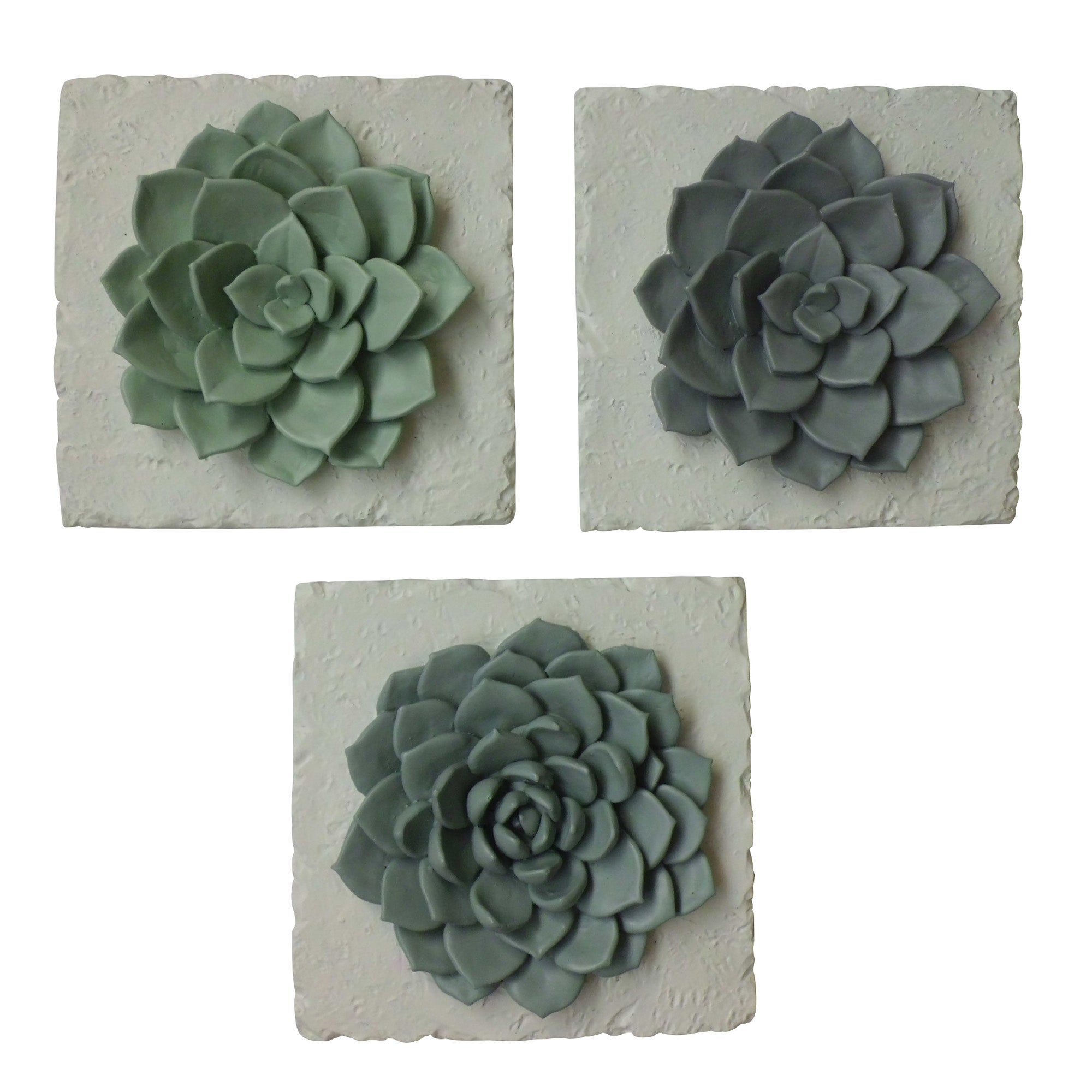 Image of Set of 3 Honesty Plant Plaques Grey / Green