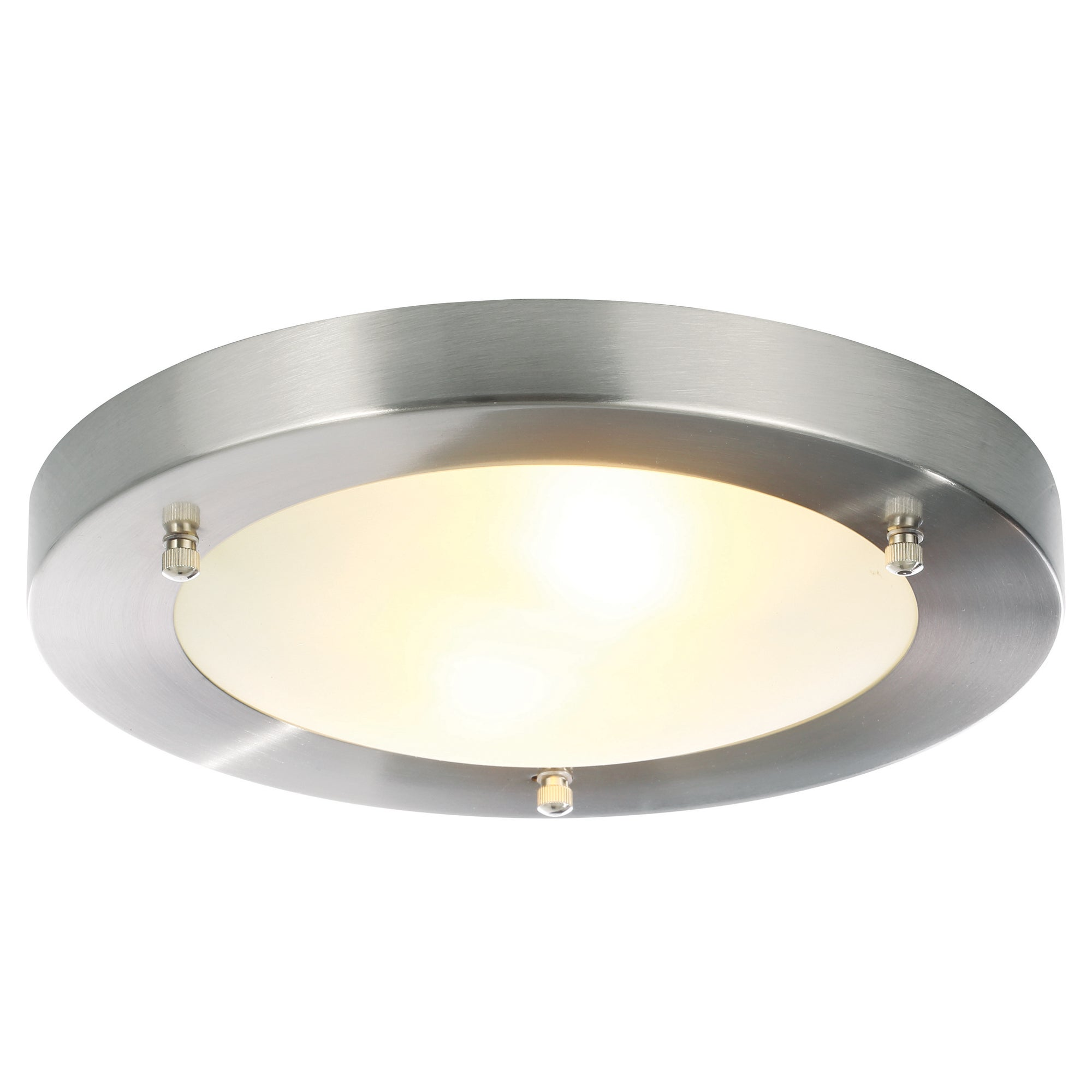 Image of Canis Large Flush Ceiling Fitting Satin Nickel