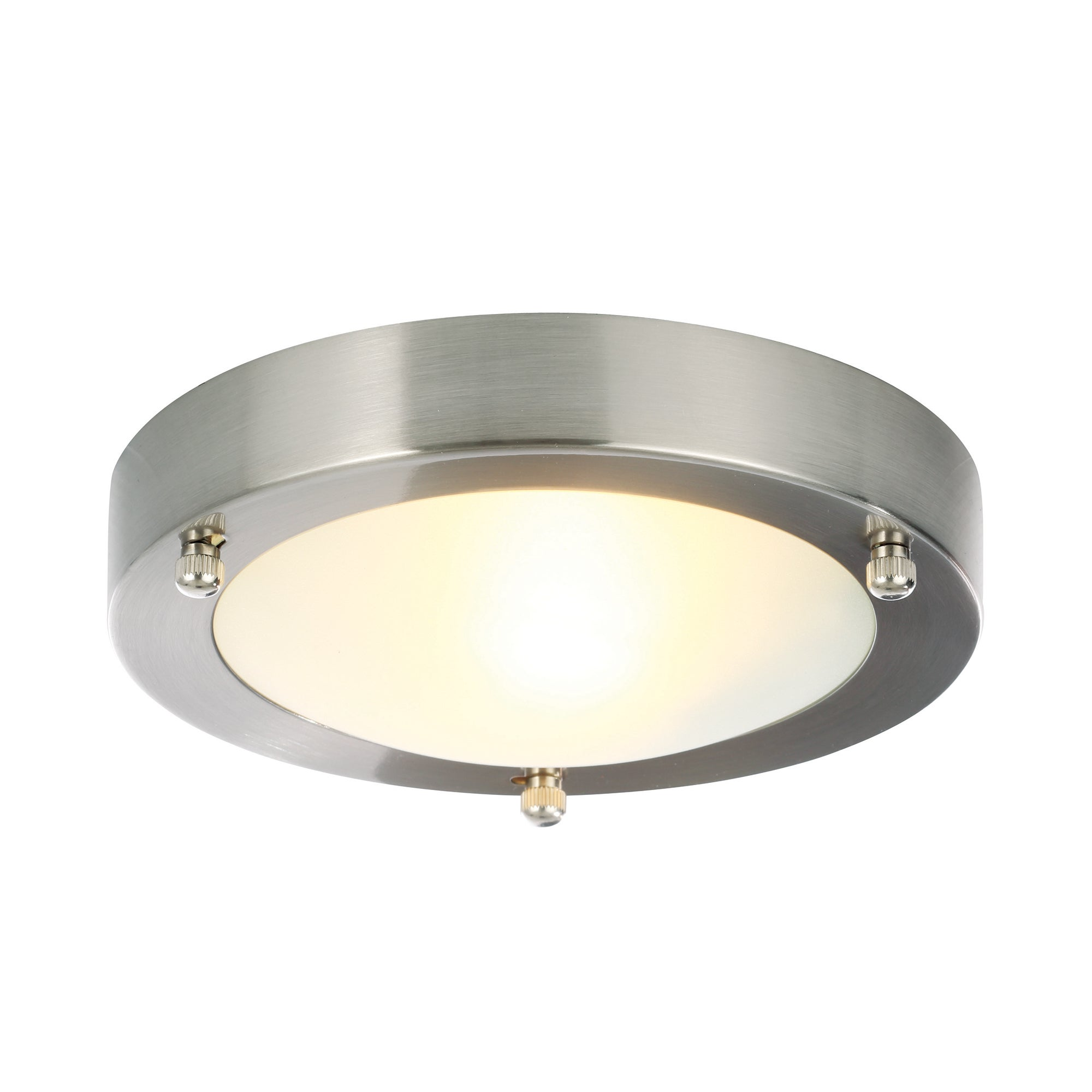 Image of Canis Small Flush Ceiling Fitting Satin Nickel