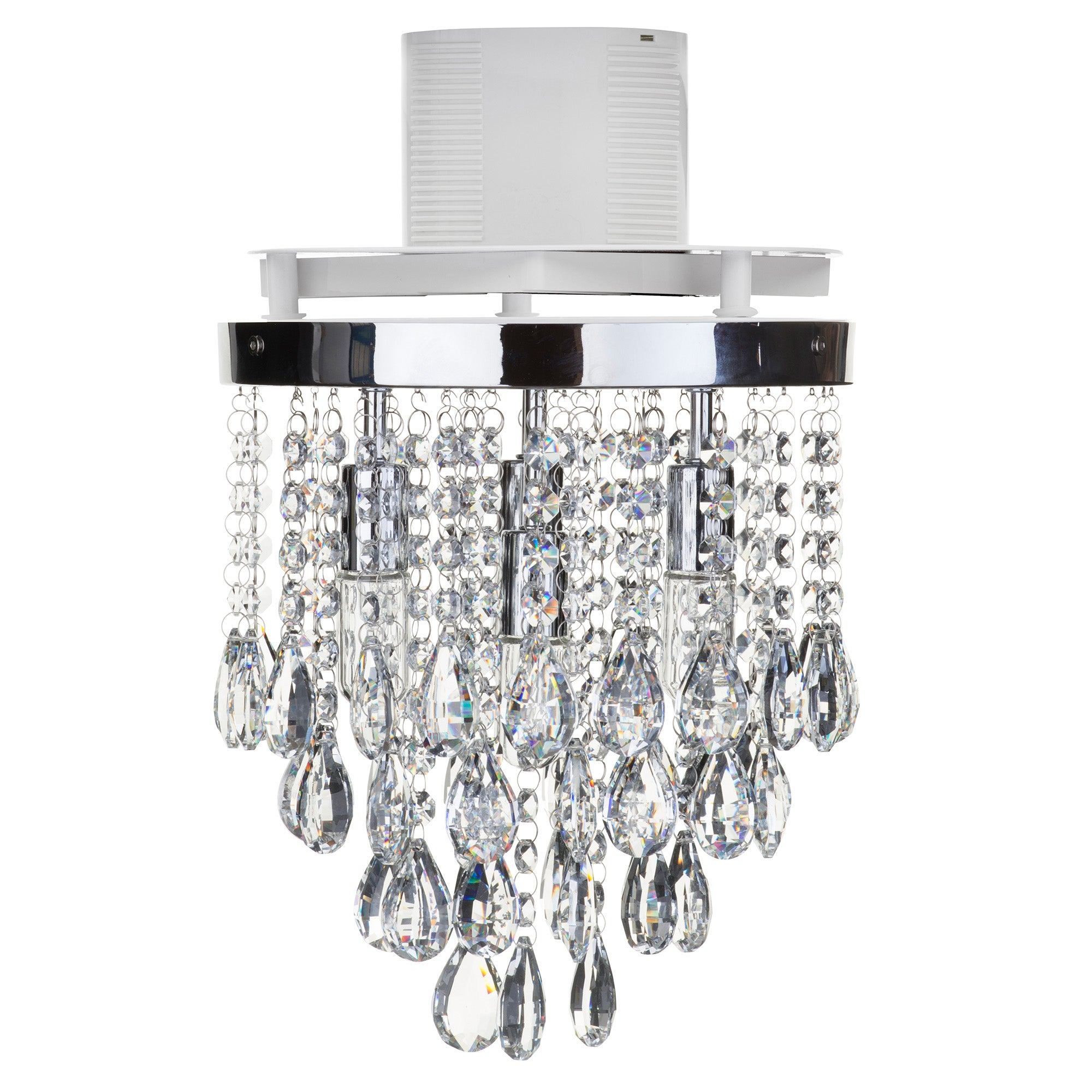 Image of Verano 4 Light Flush Ceiling Fitting and Extractor Fan Chrome