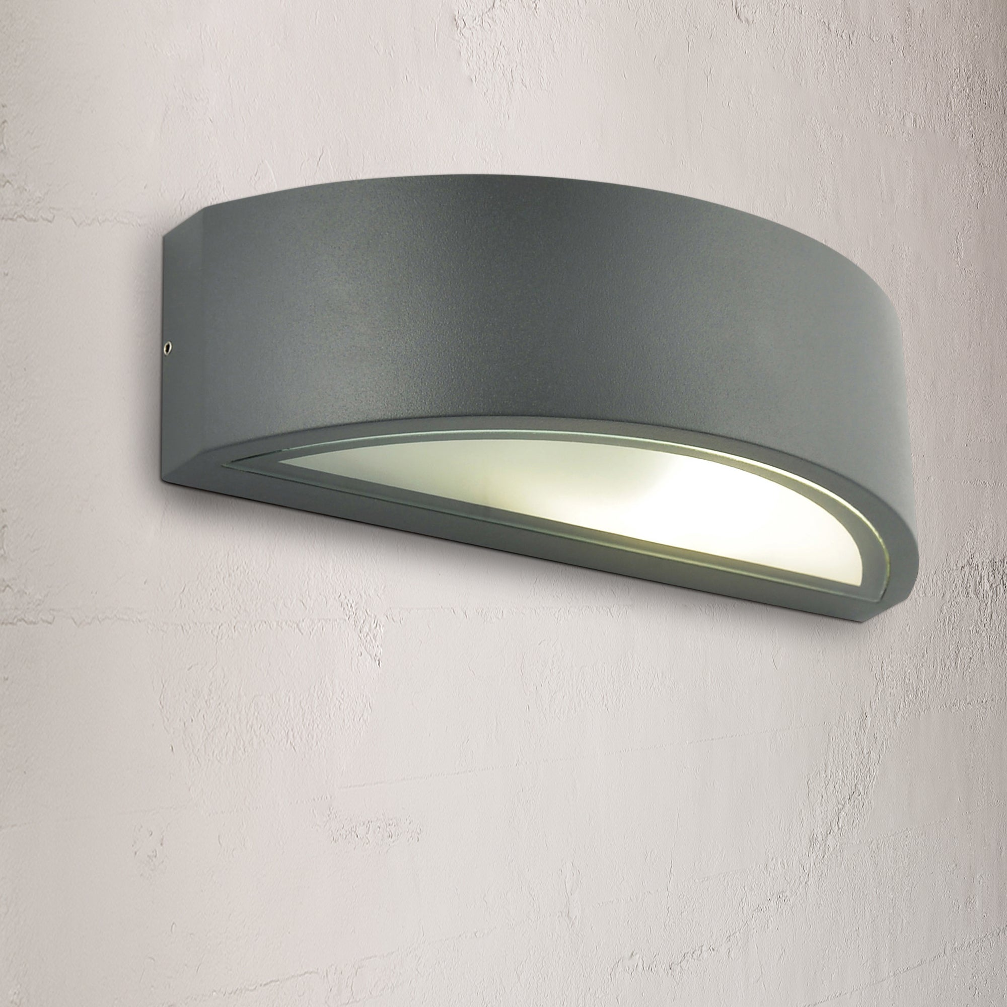 Image of Selene Grey Curved Up Down Wall Light Grey