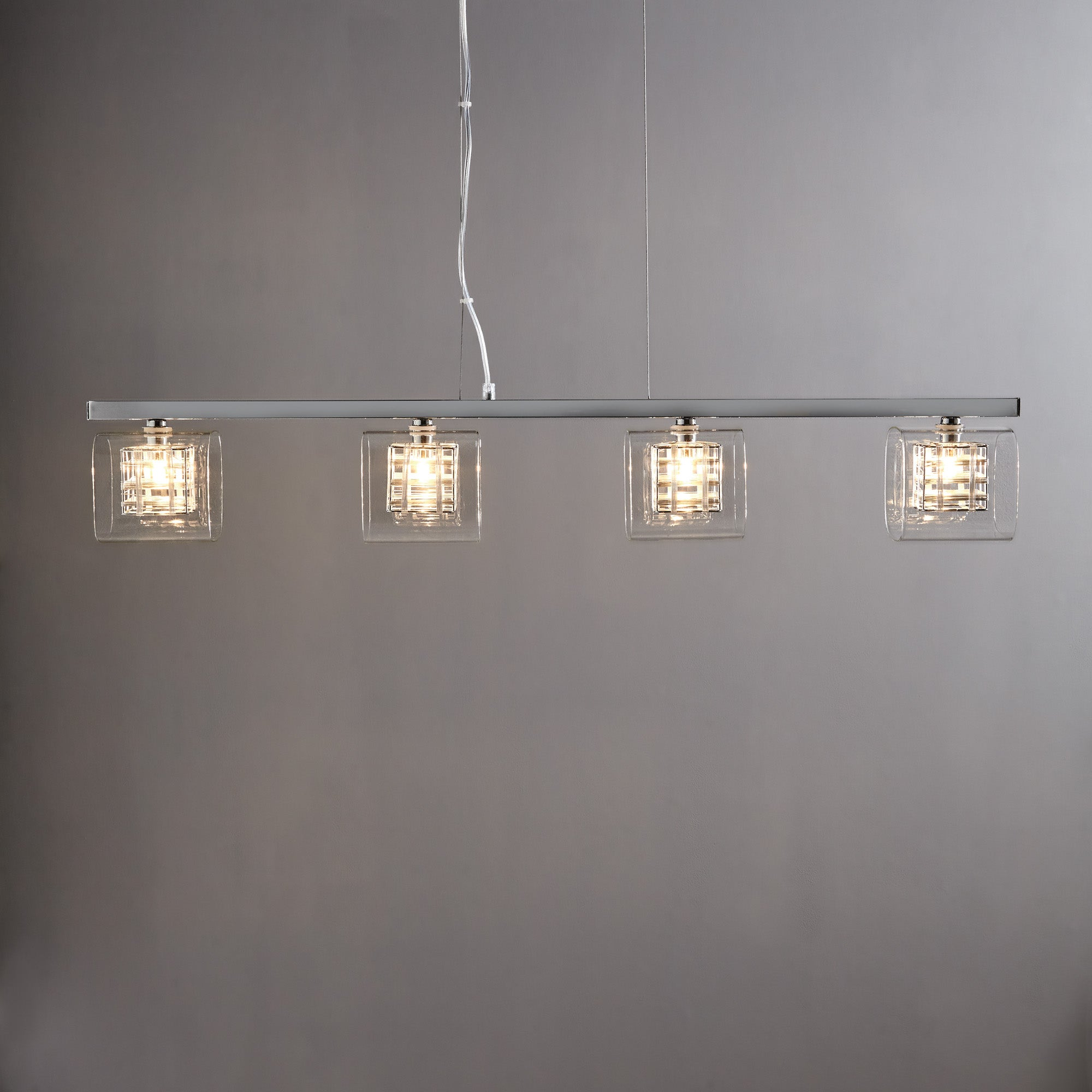 Adam Wired Cube 4 Bar Light Ceiling Fitting Chrome
