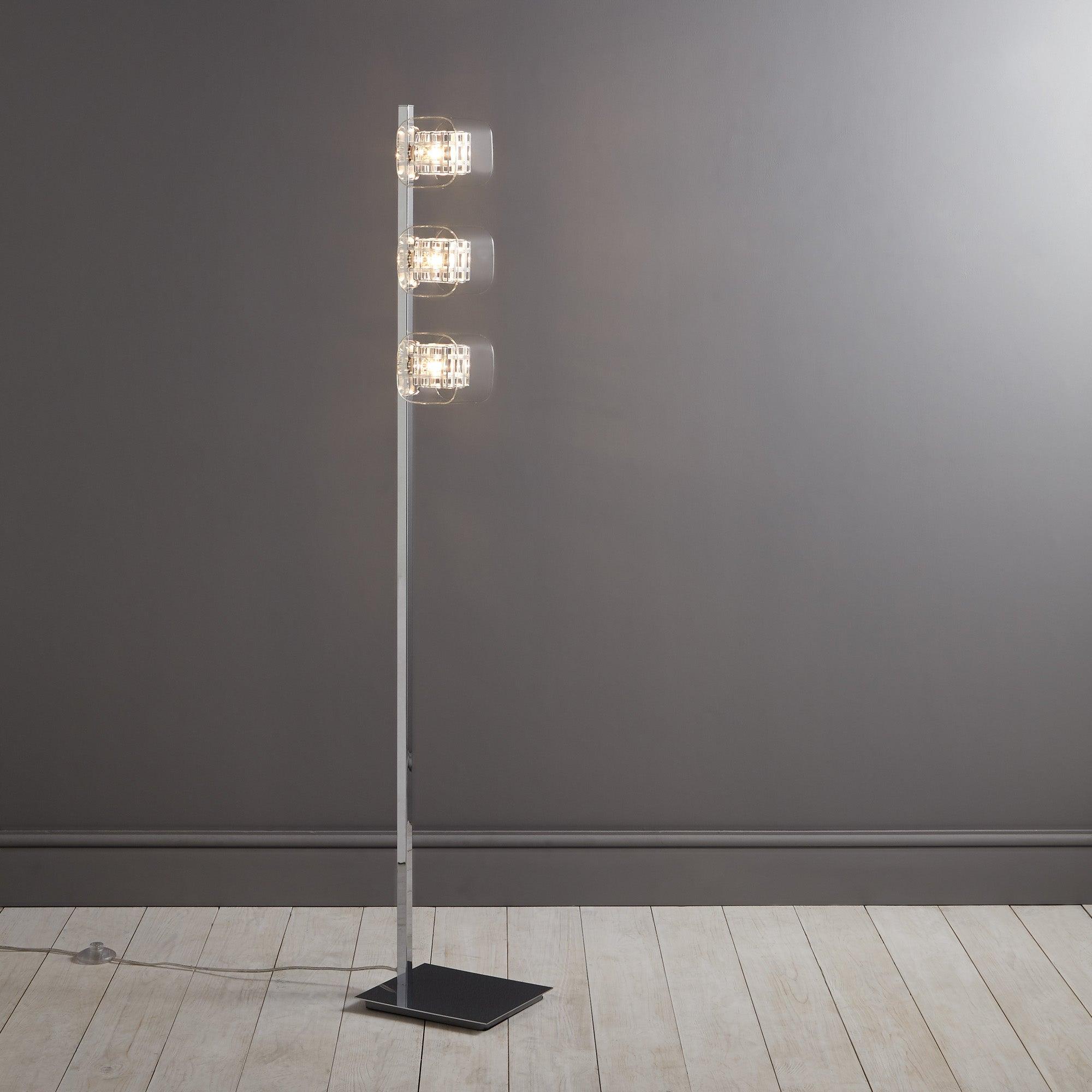 Adam Wired Cube 3 Light Floor Lamp Chrome