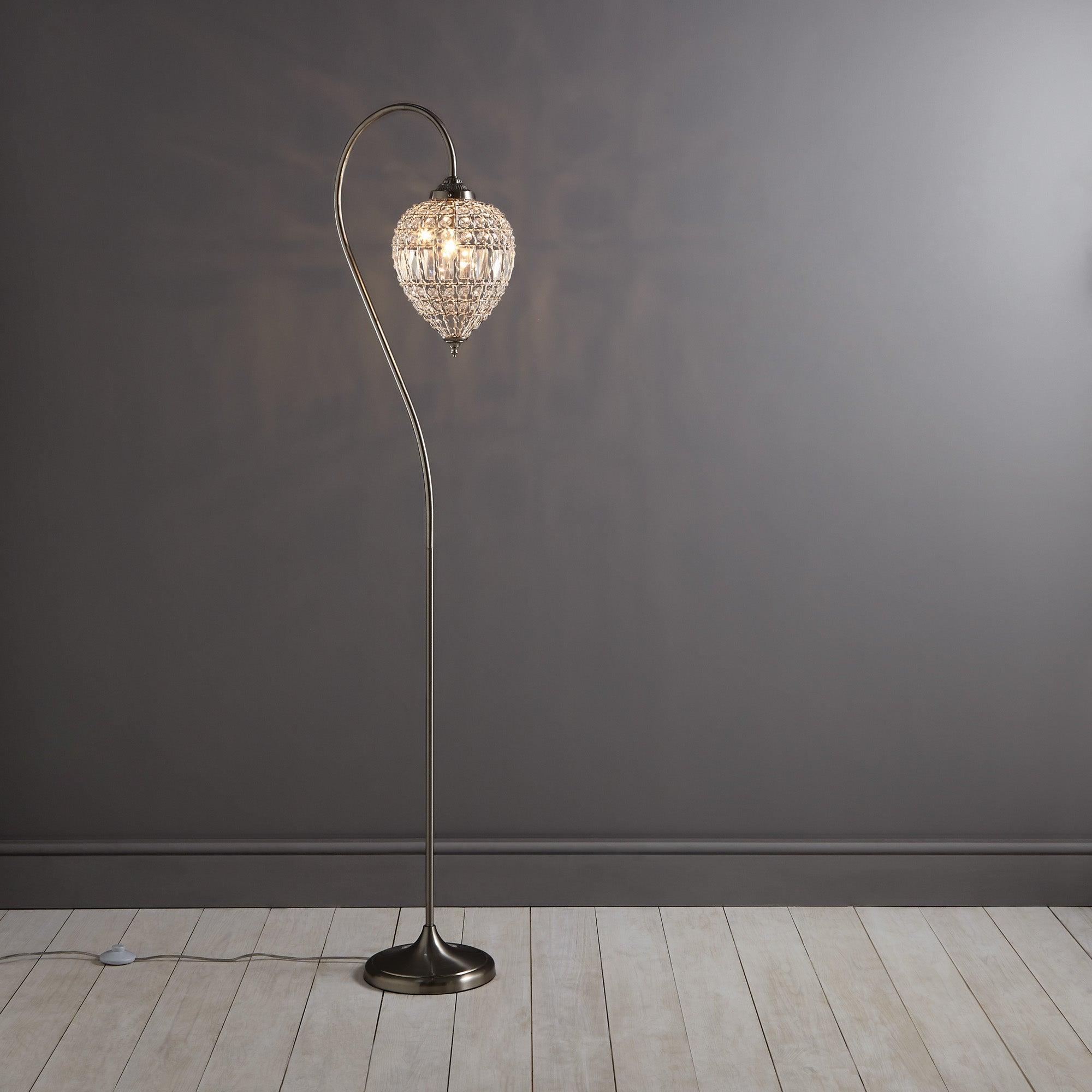 Image of Ennis Chrome Beaded Crystal Pendant Floor Lamp Chrome