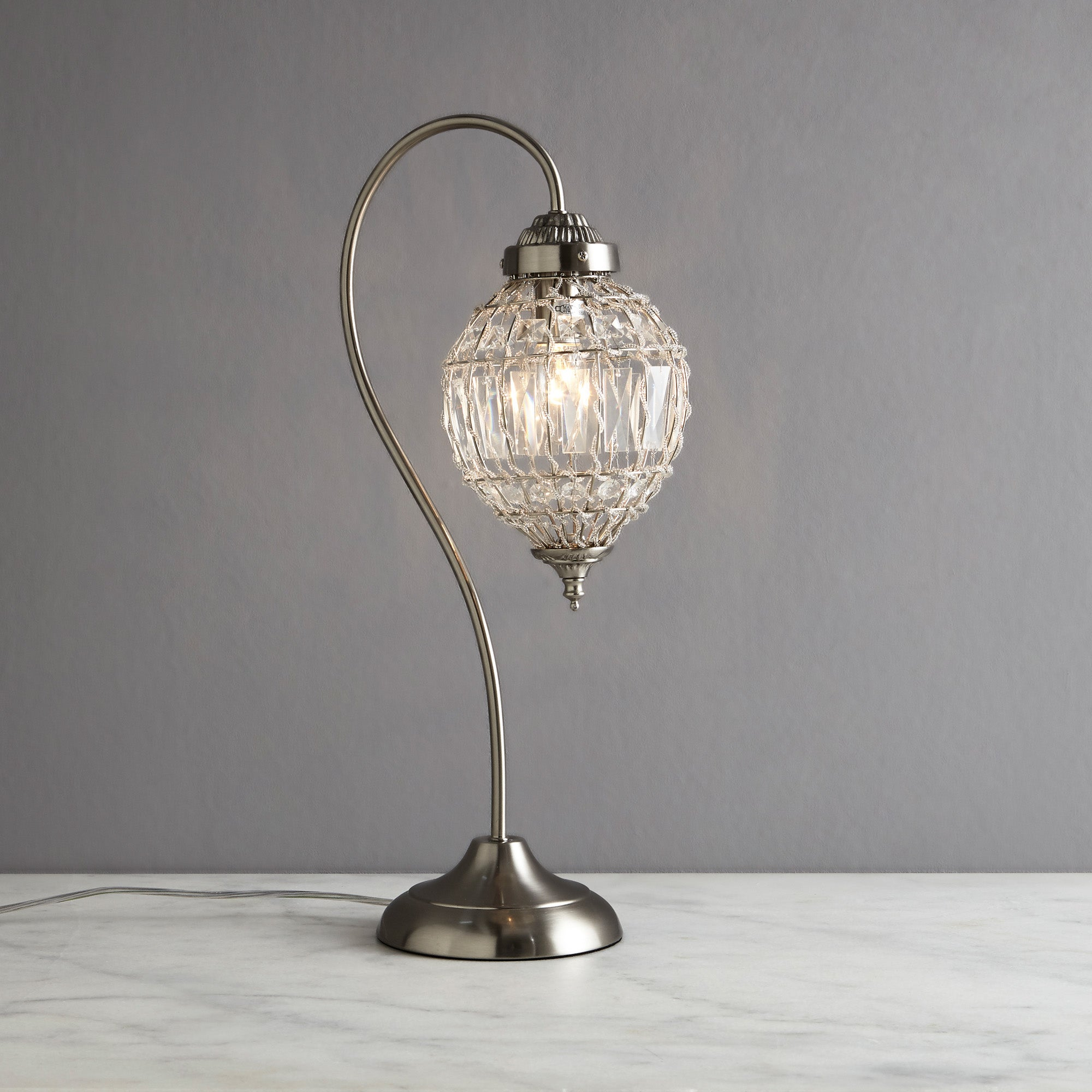 Image of Ennis Chrome Beaded Crystal Table Lamp Chrome