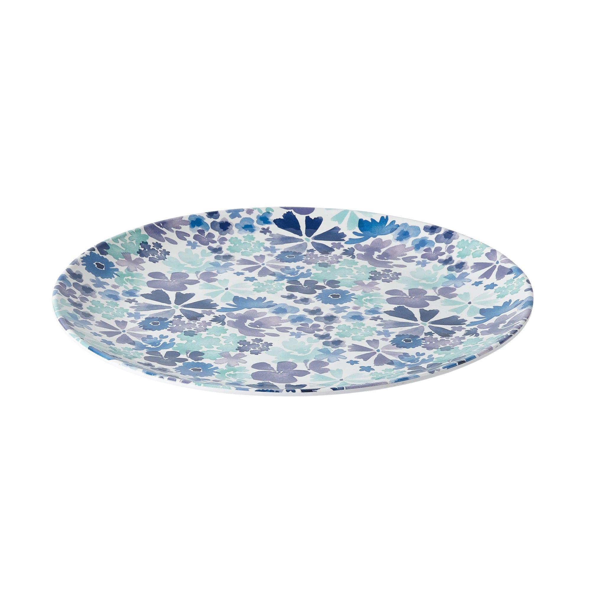 Image of Scattered Flowers Melamine Round Platter Blue