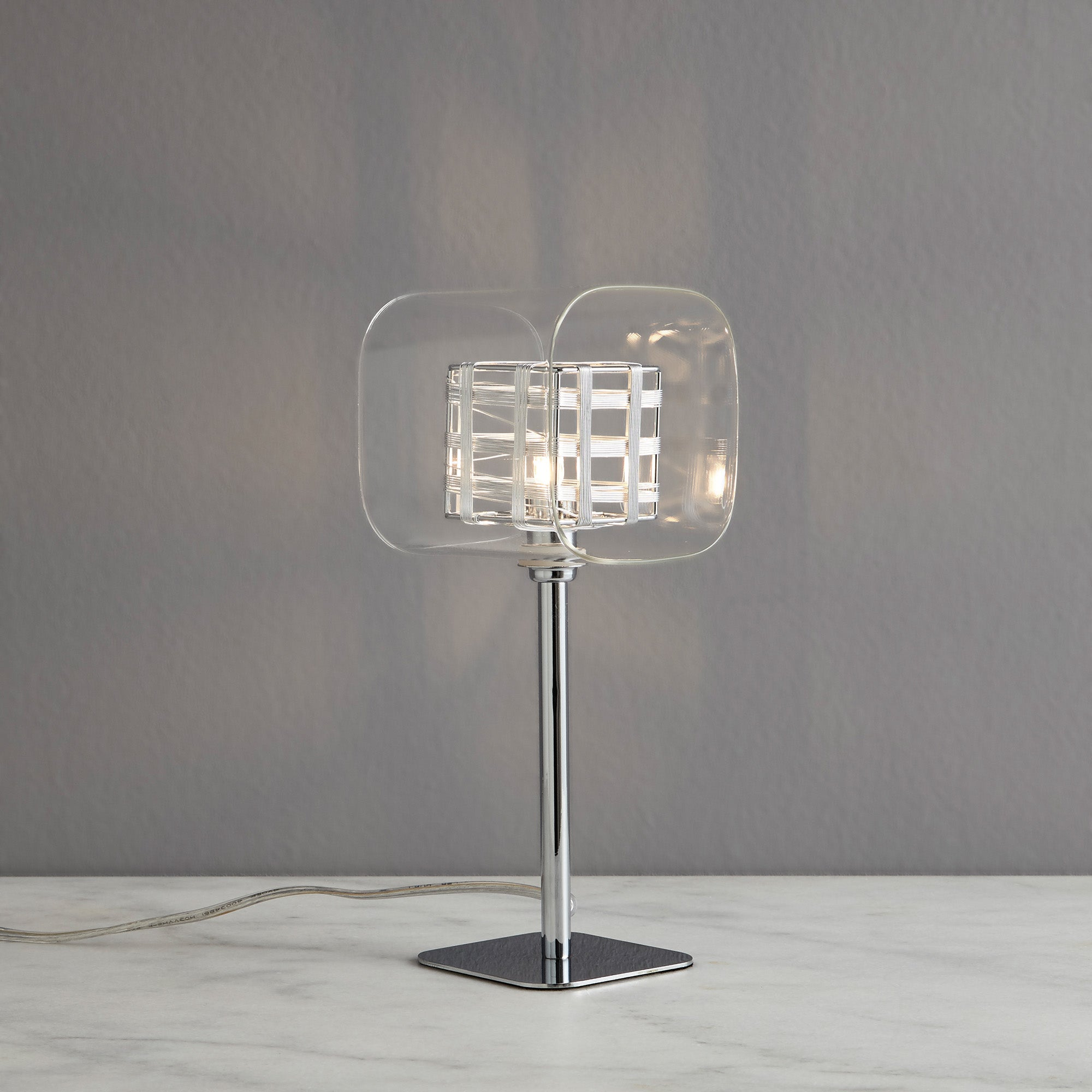 Adam Wired Cube 1 Light Table Lamp Chrome
