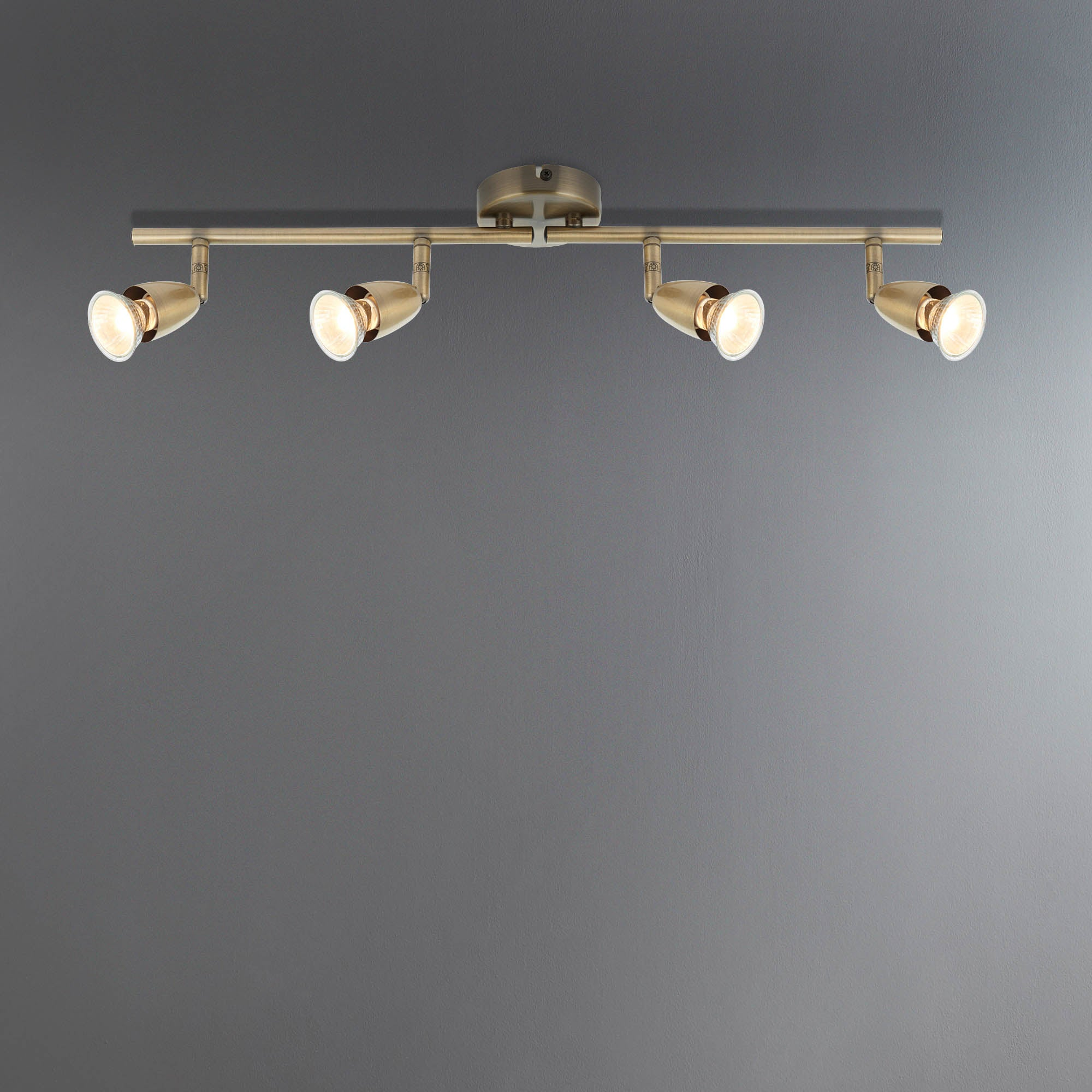Ameno Brass 4 Light Spotlight Bar Antique Brass