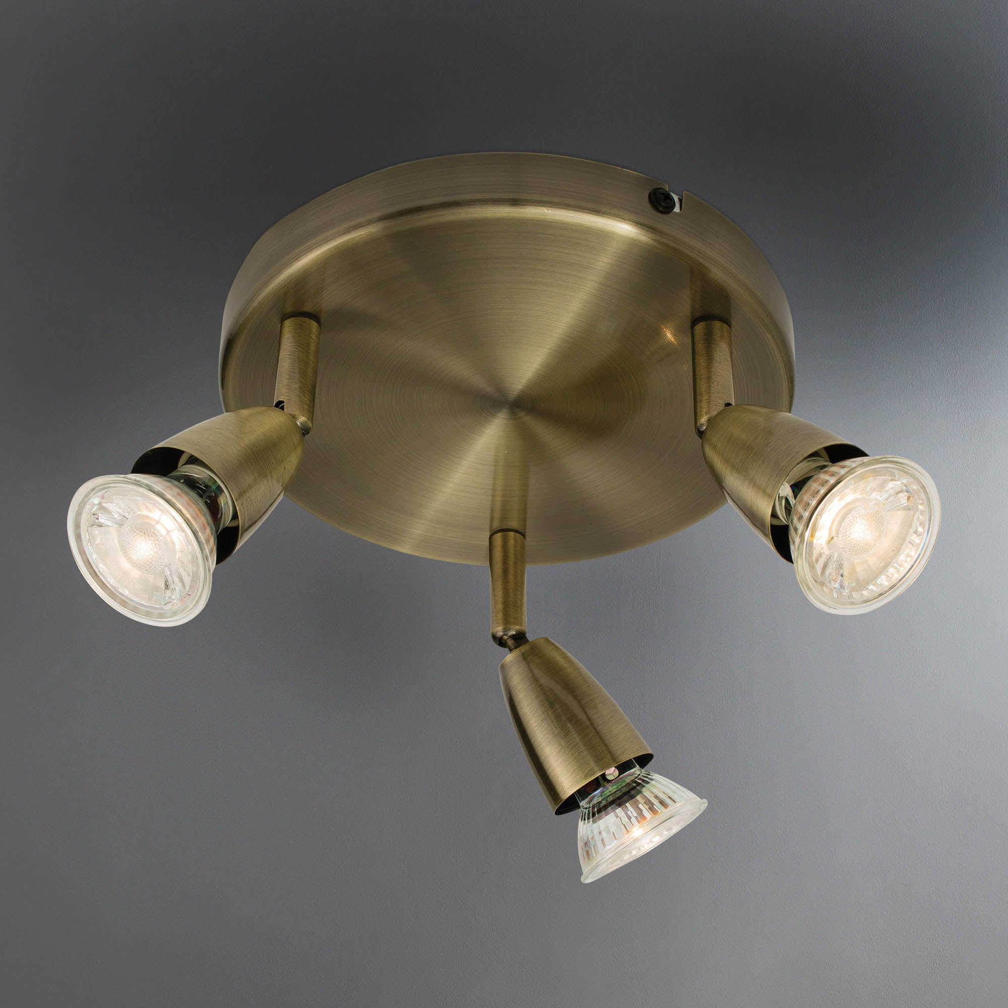 Image of Ameno Brass 3 Light Spotlight Antique Brass