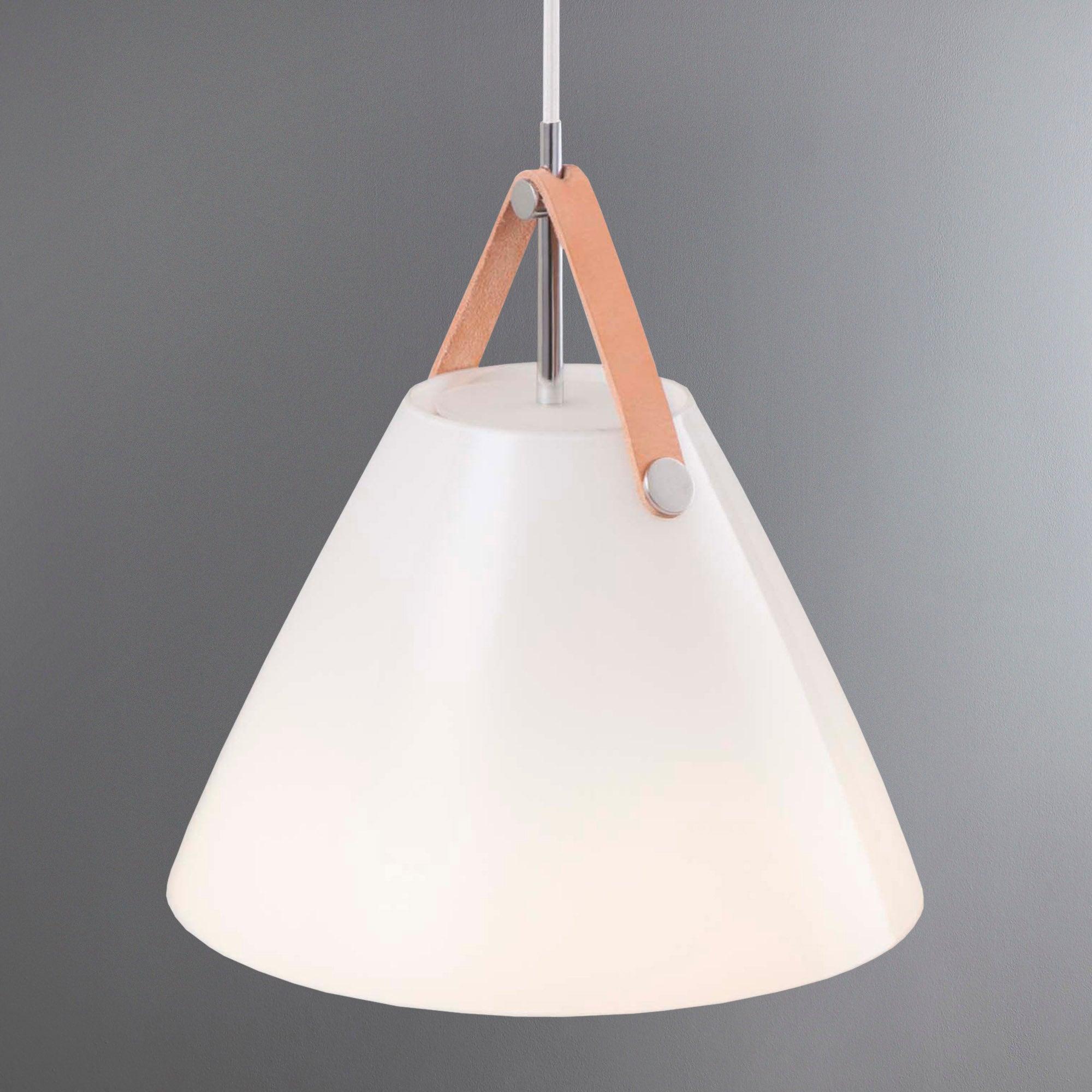 Photo of Strap small white glass pendant light fitting white