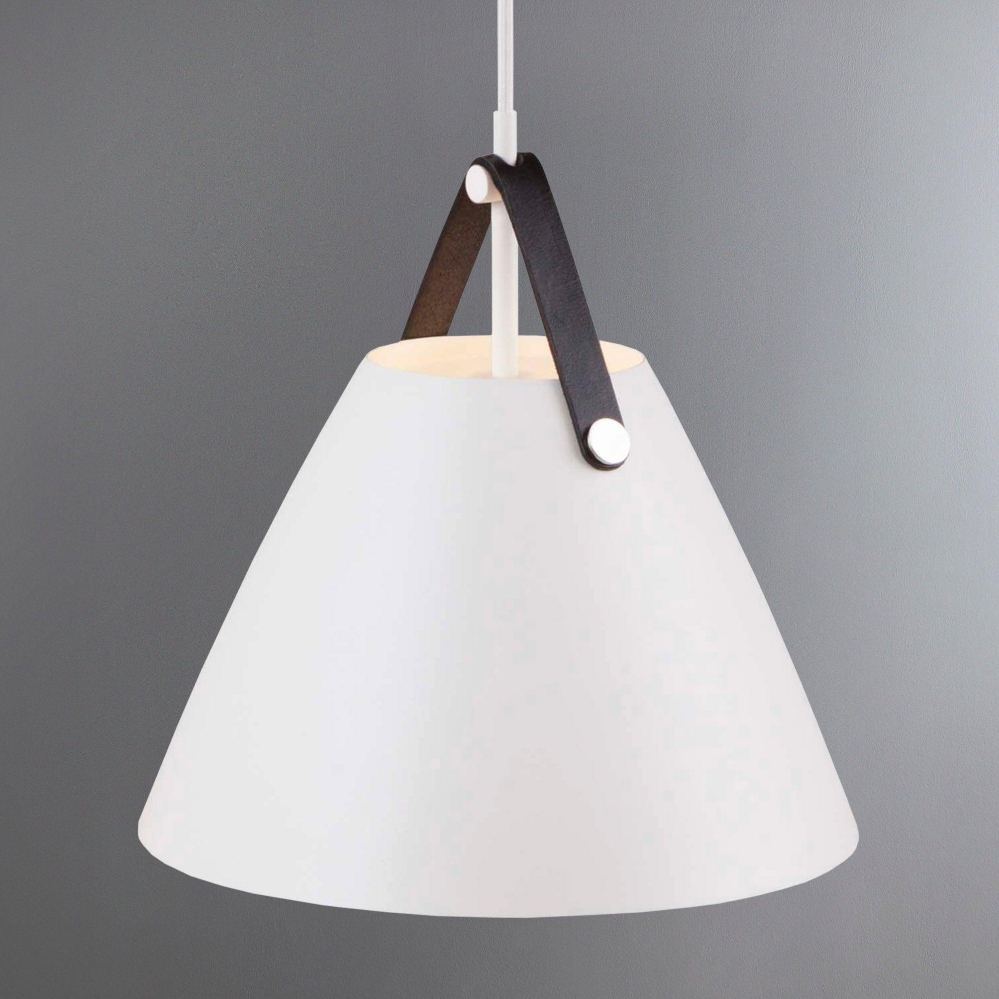 Photo of Strap small white pendant light fitting white