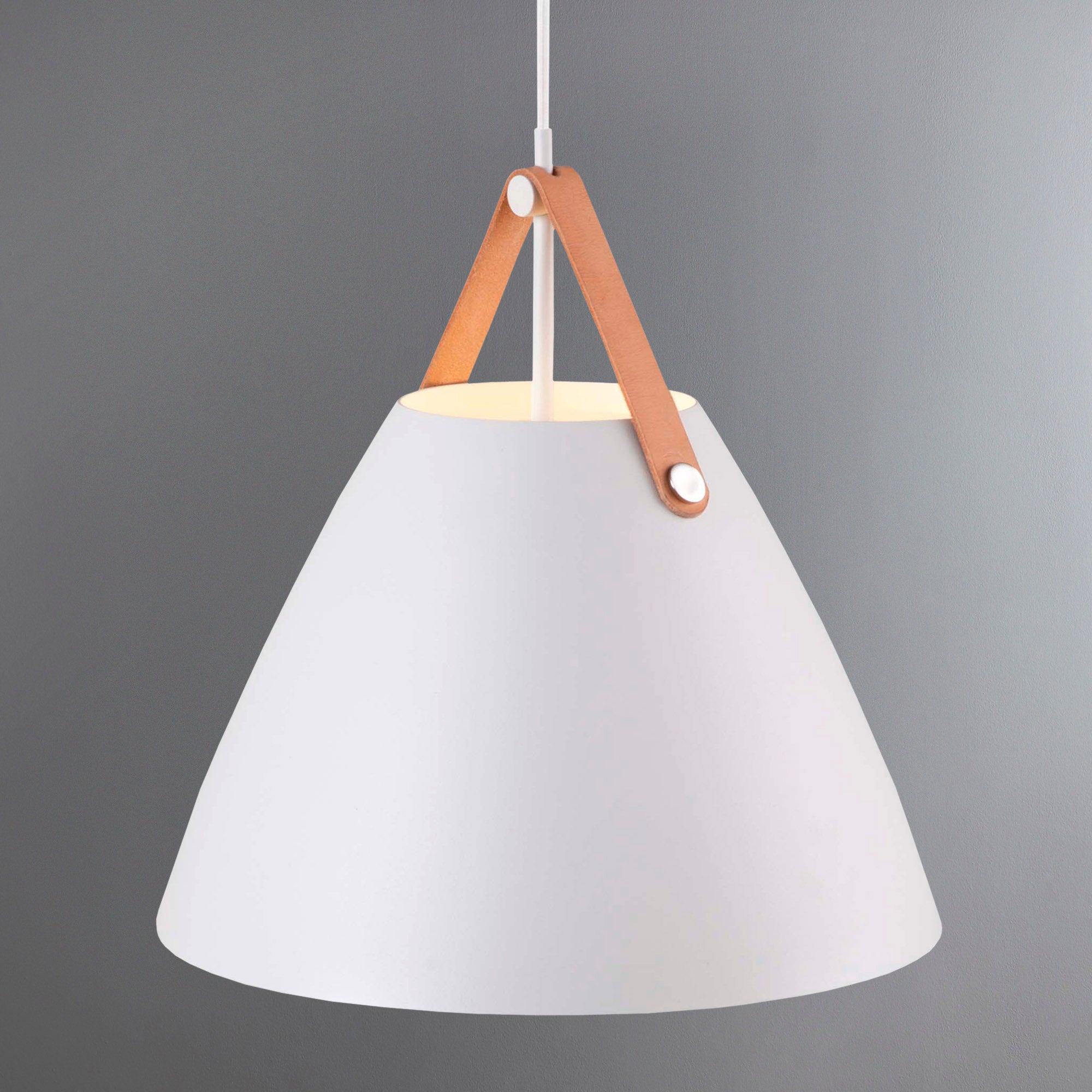 Photo of Strap medium white pendant light fitting white