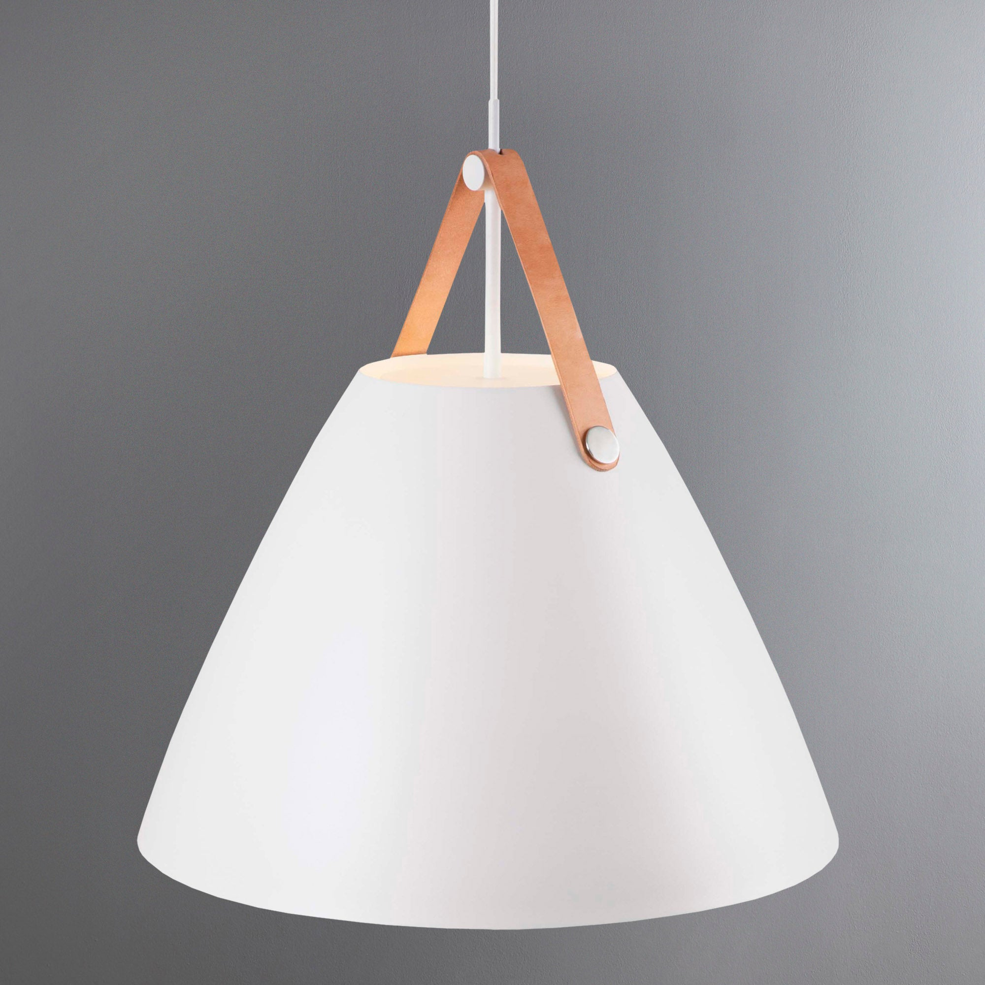 Photo of Strap large white pendant light fitting white