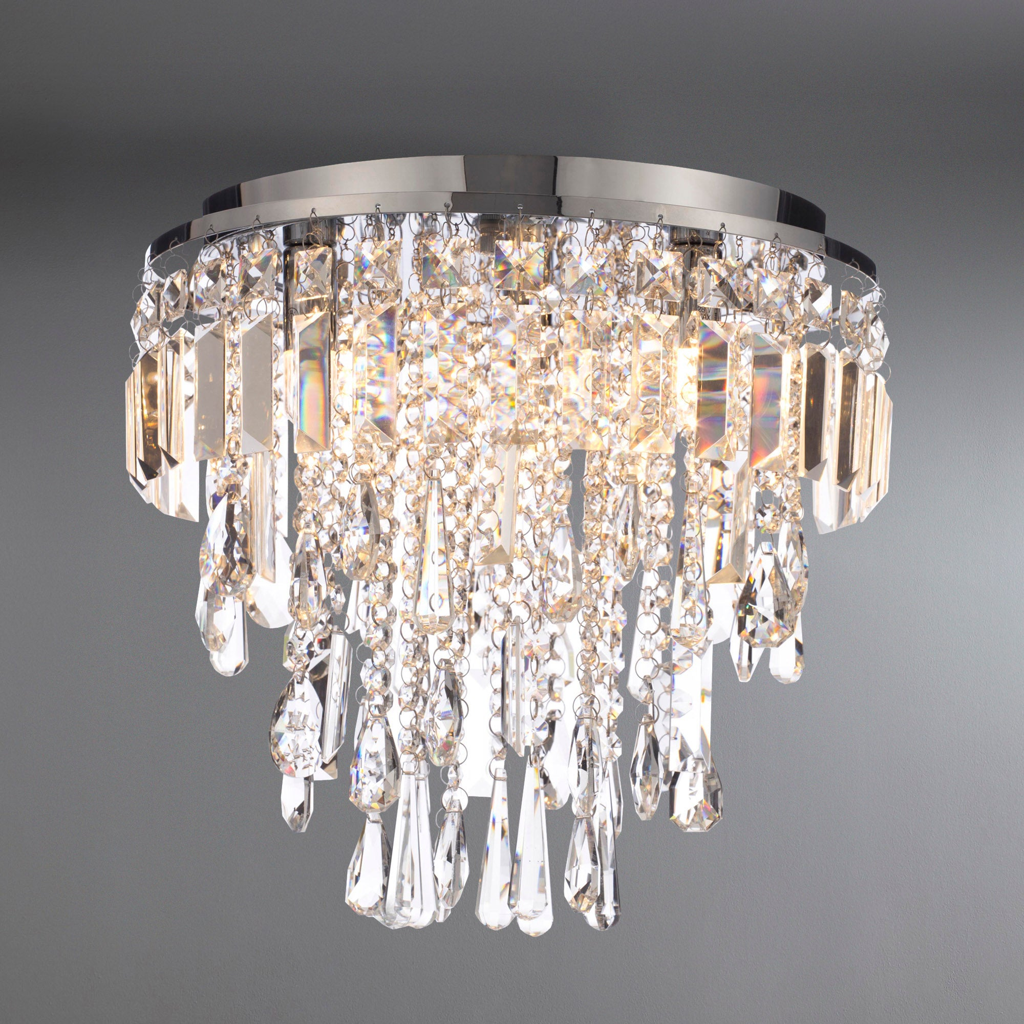 Image of Marquis by Waterford Bresna Chrome 3 Light Flush Ceiling Fitting Chrome