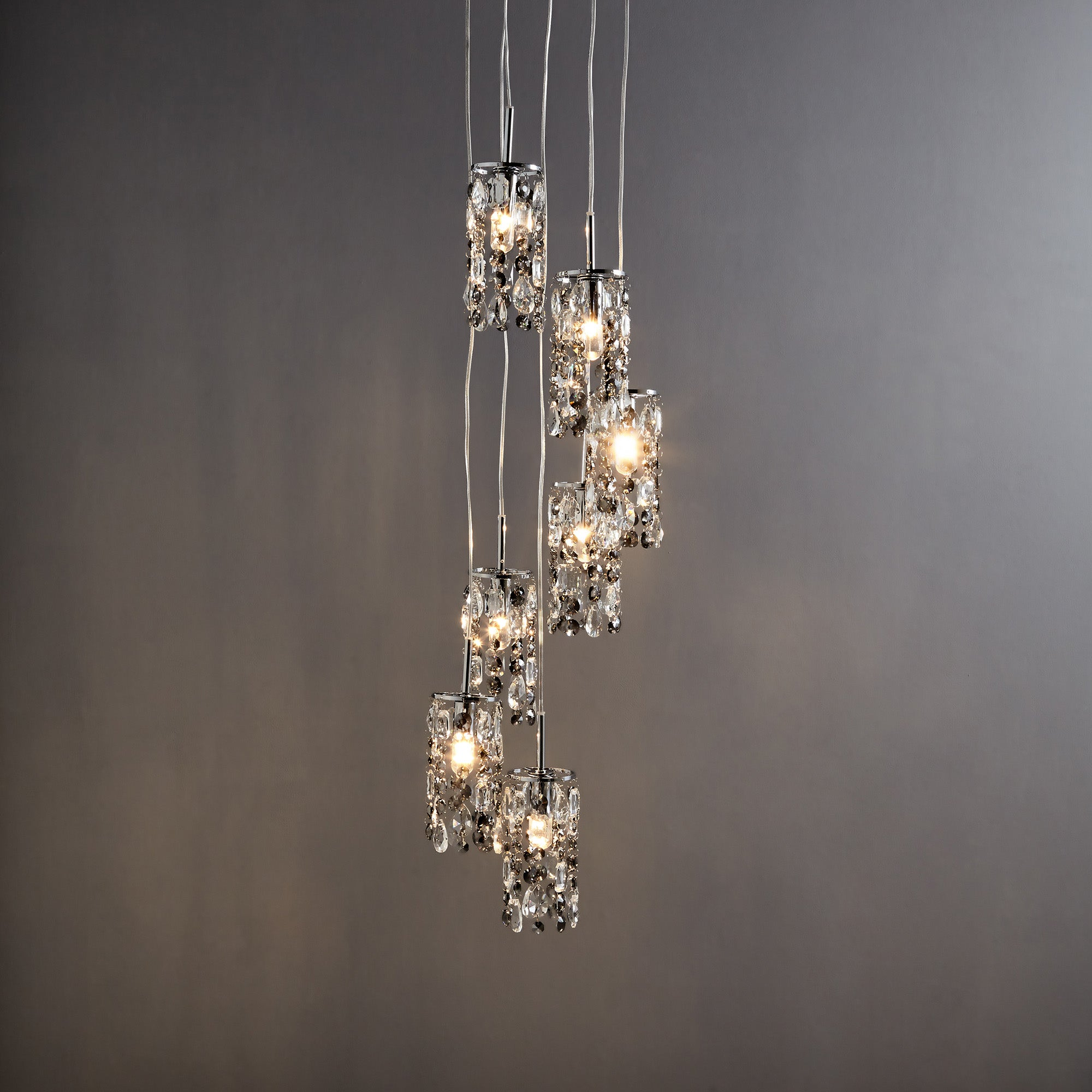 Image of Marquis by Waterford Lagan Cascading Chrome 7 Light Cluster Ceiling Fitting Chrome