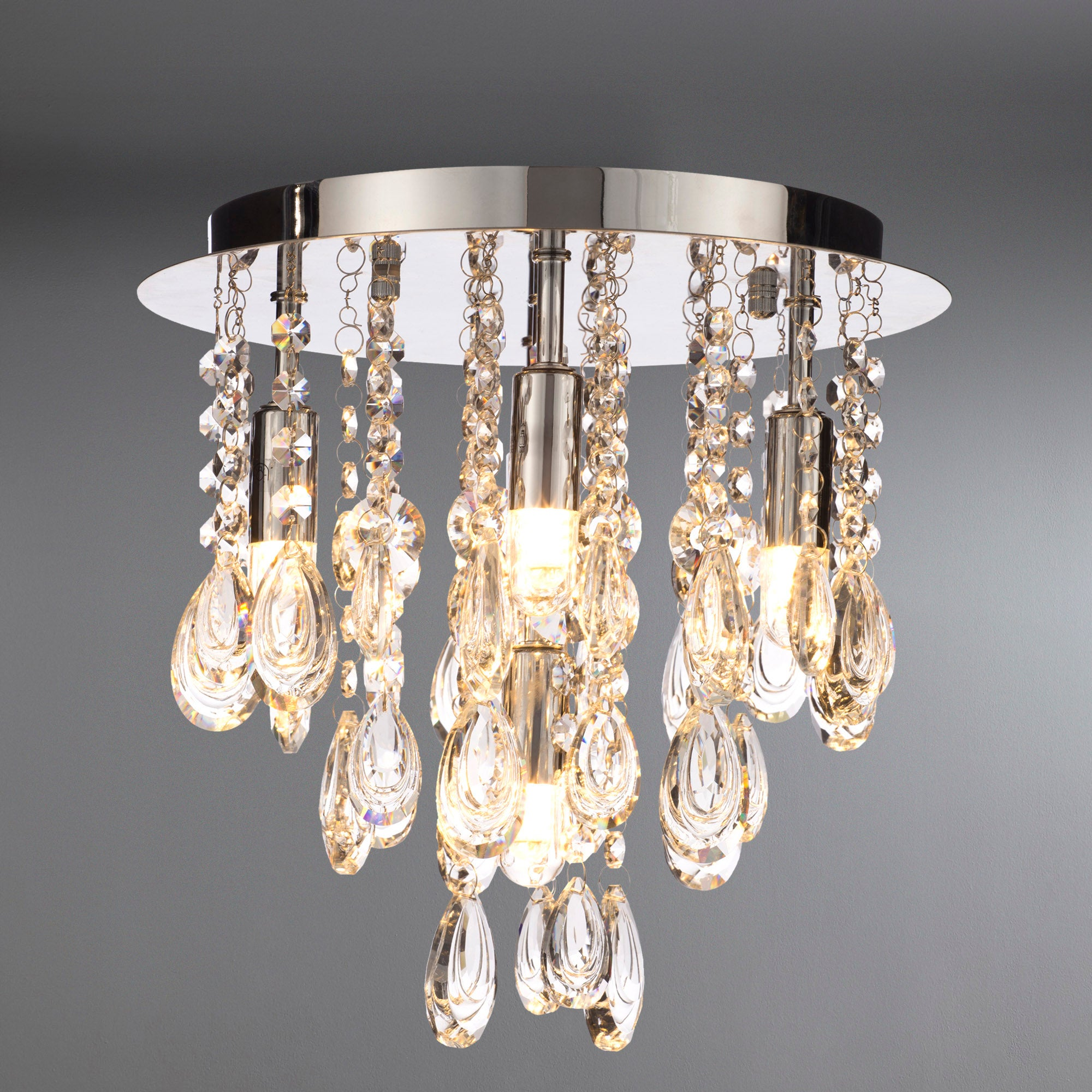 Image of Marquis by Waterford Liffey Chrome 5 Light Flush Ceiling Fitting Chrome