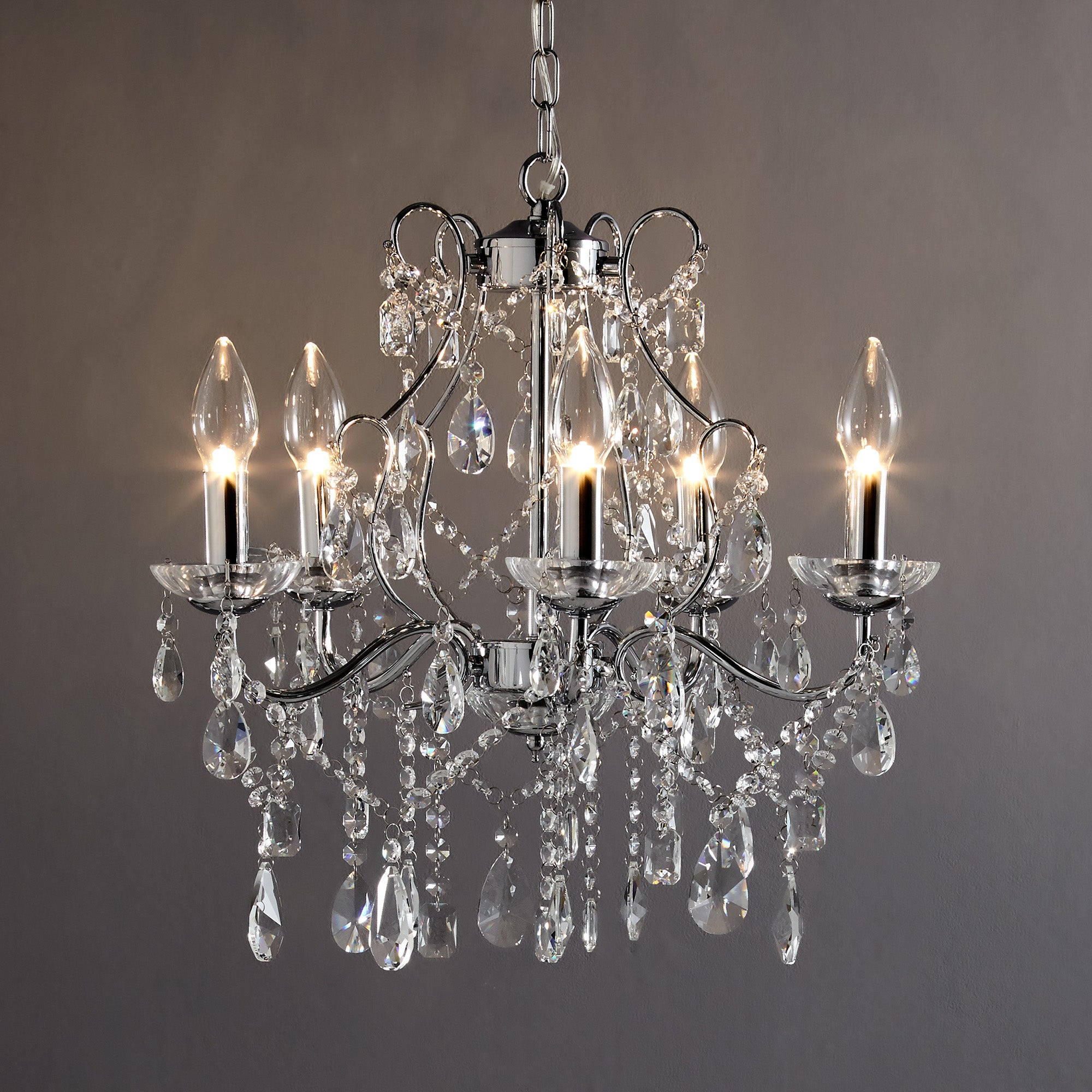 Image of Marquis by Waterford Annalee Chrome 5 Light Chandelier Chrome