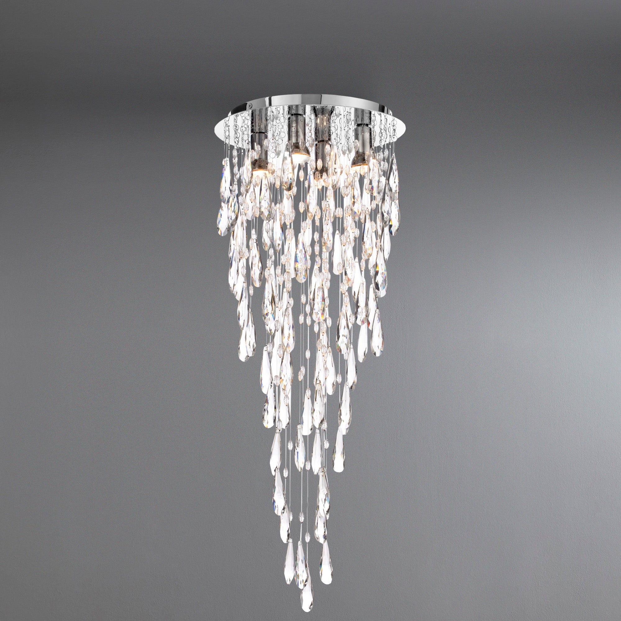 Image of Marquis by Waterford Deel Chrome 4 Light Flush Ceiling Fitting Chrome