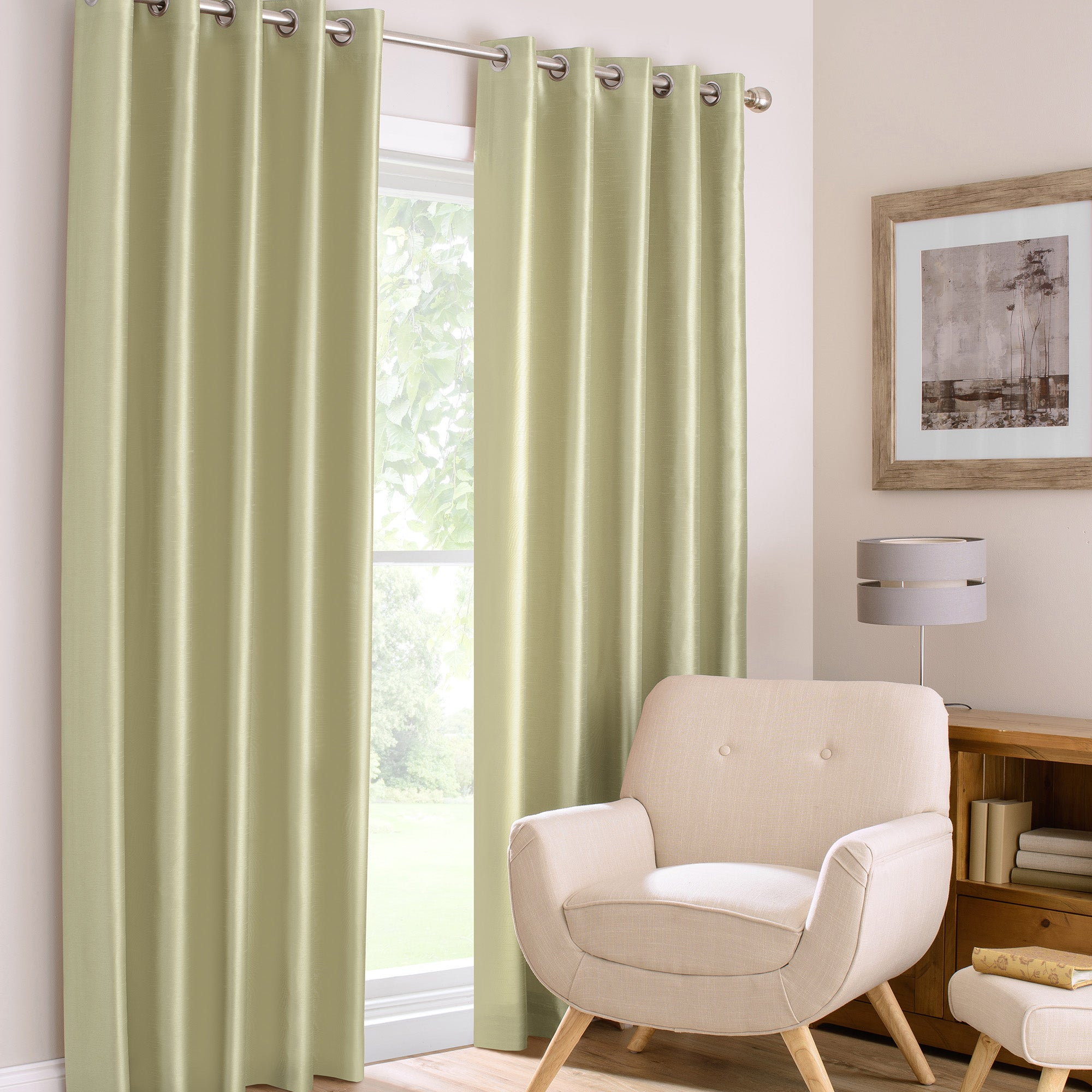 Photo of Montana green lined eyelet curtains green