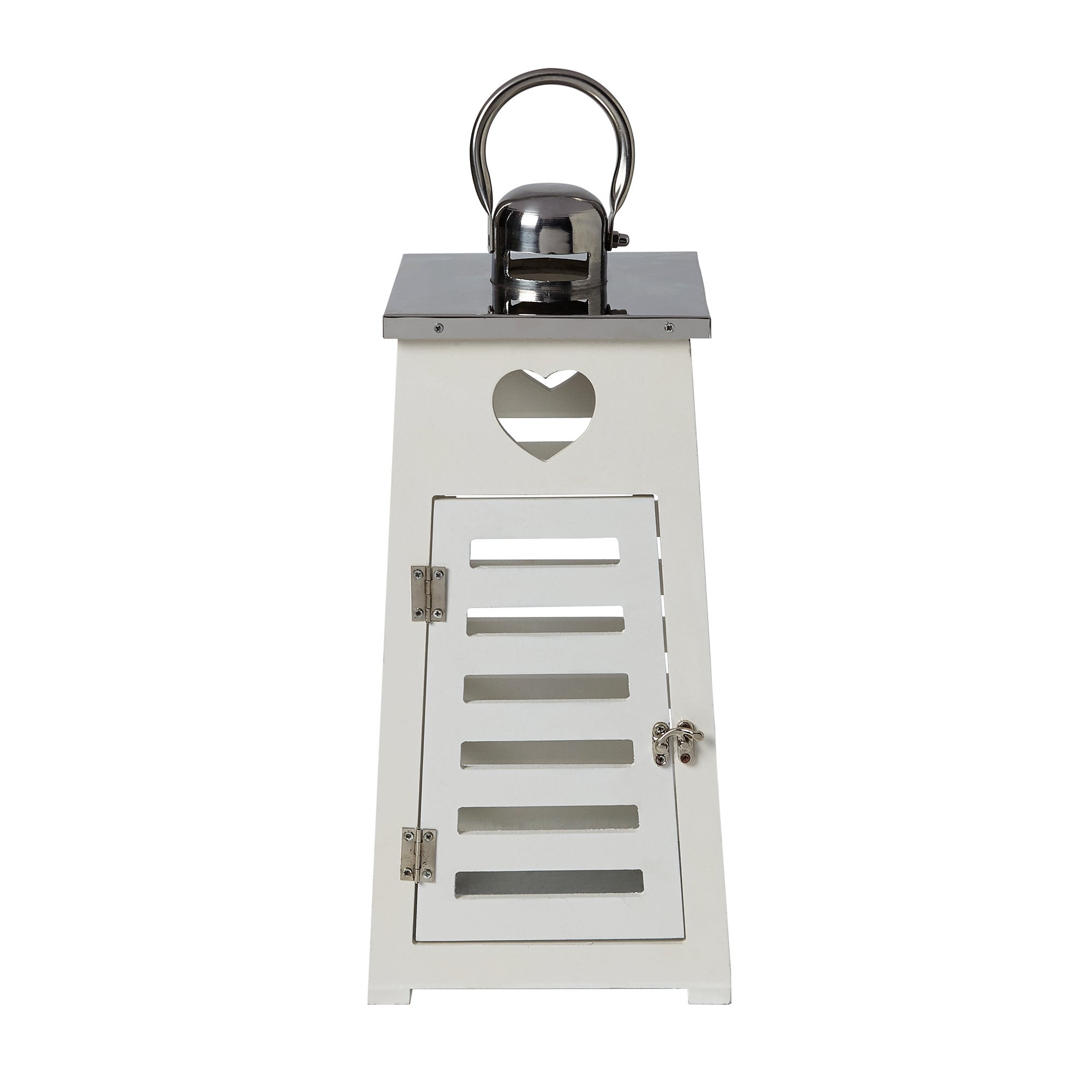 White Heart Wooden Tapered Lantern White