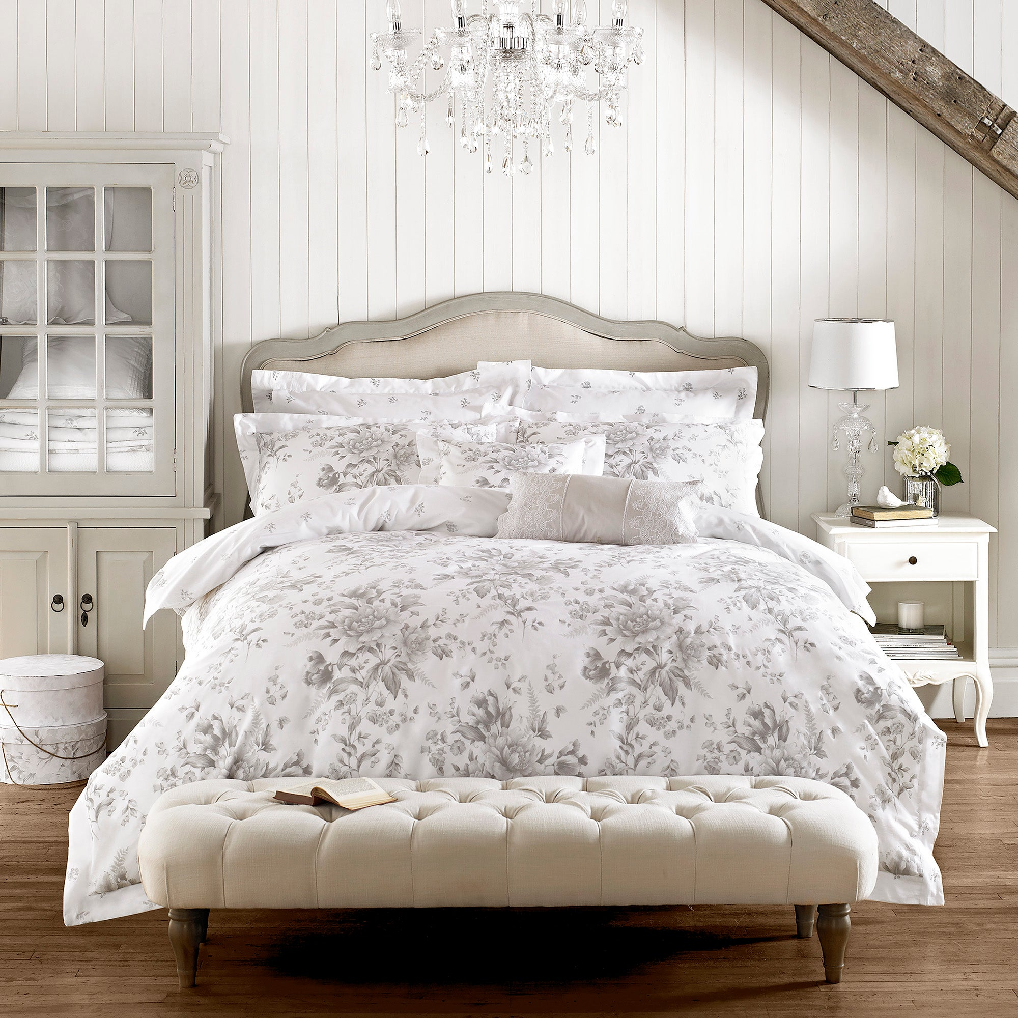Image of Holly Willoughby Ruby Grey Duvet Cover Grey