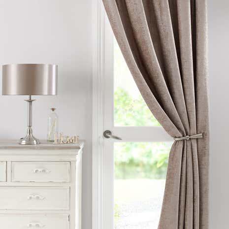 Chenille Taupe Thermal Pencil Pleat Door Curtain & Chenille Taupe Thermal Pencil Pleat Door Curtain | Dunelm