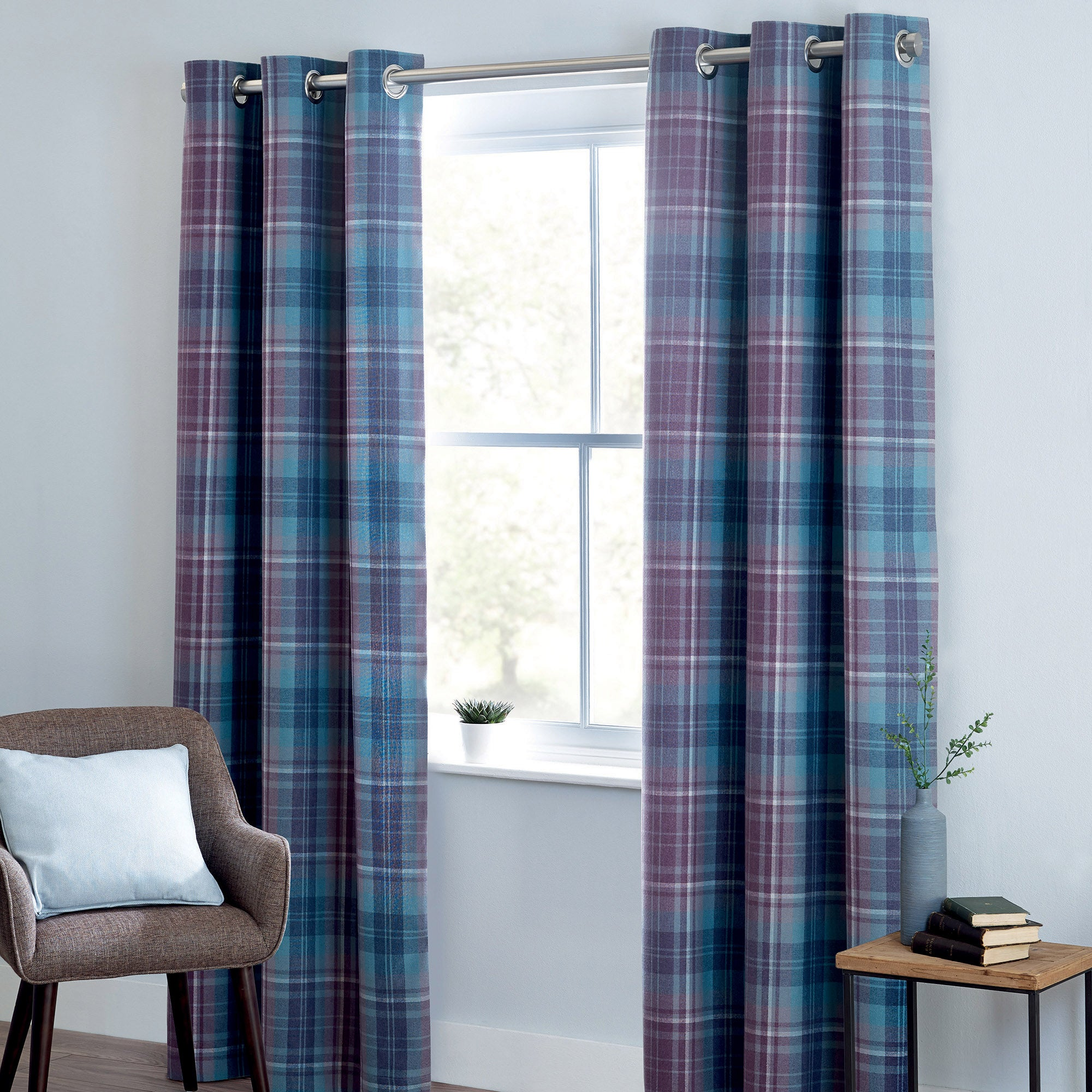 Photo of Mauve norfolk check woven eyelet curtains mauve