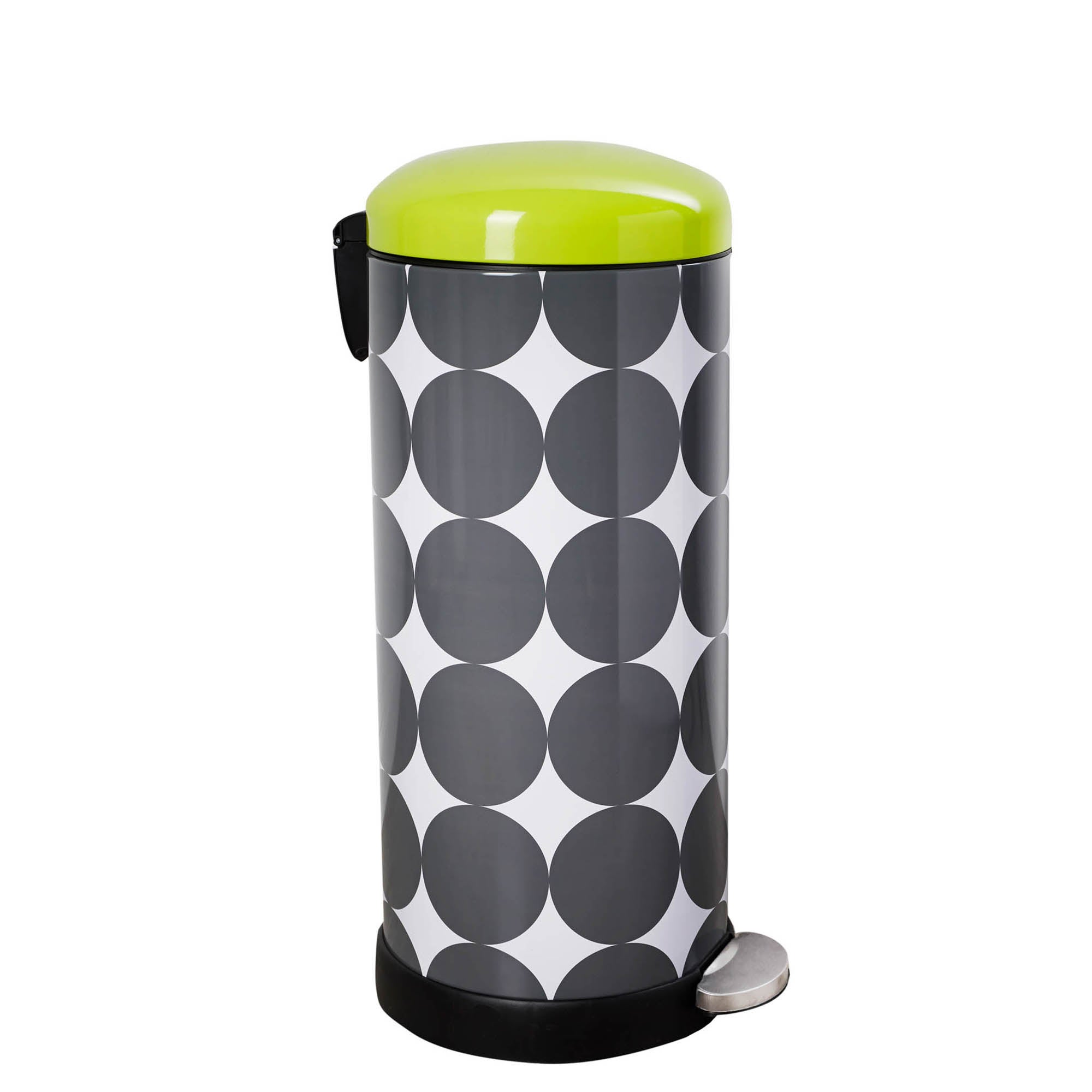Photo of Dunelm 30 litre retro print stainless steel pedal bin lime -green-
