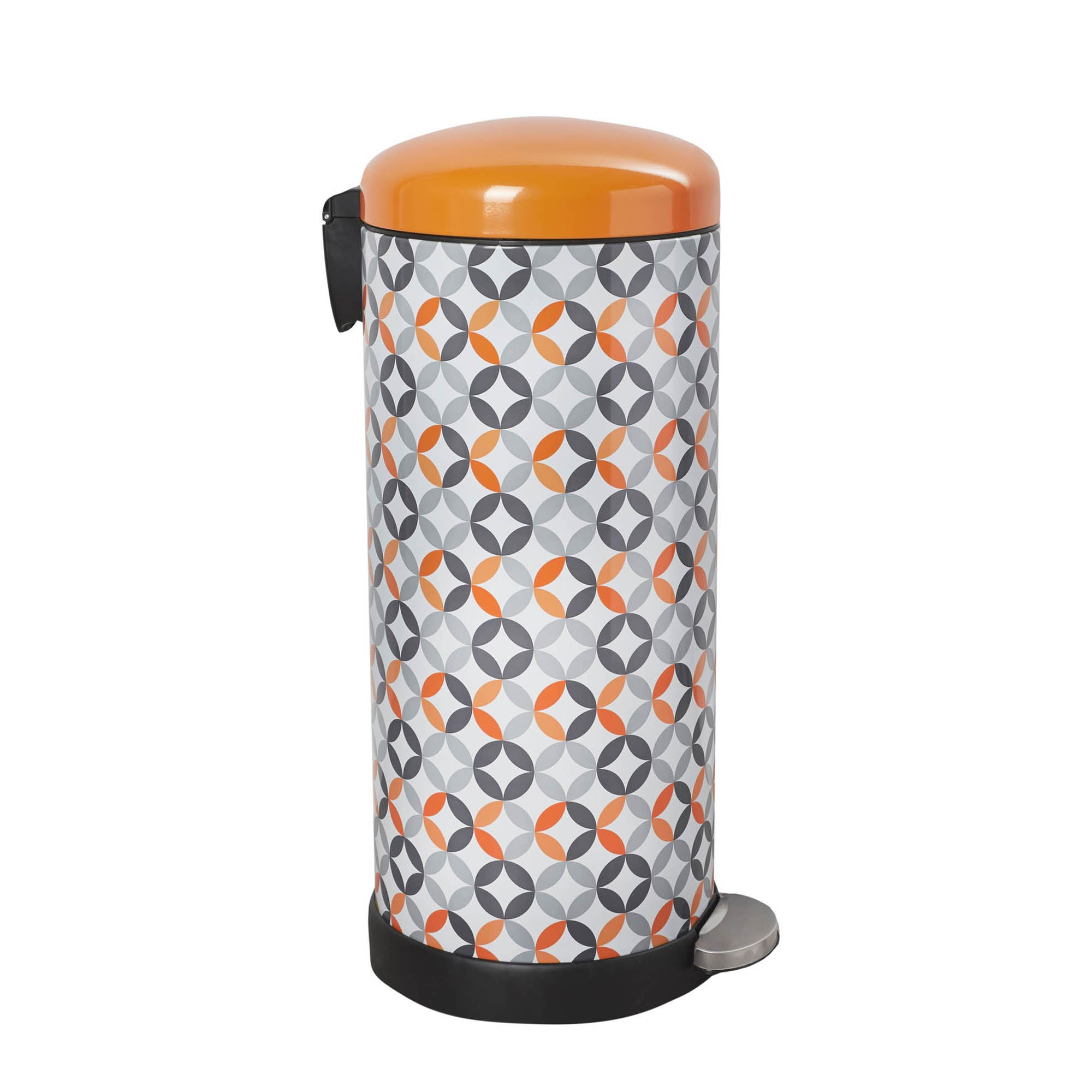 Photo of Dunelm 30 litre retro print stainless steel pedal bin orange