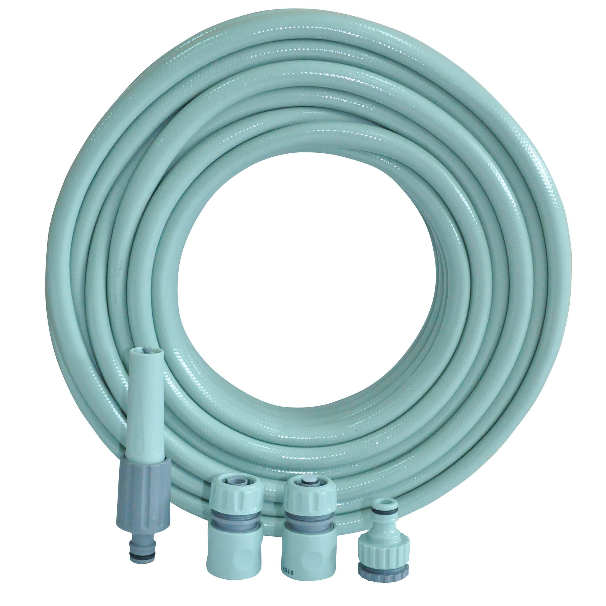 Image of 20 Metre Hose with 4 Piece Sage Nozzle Set Sage Green