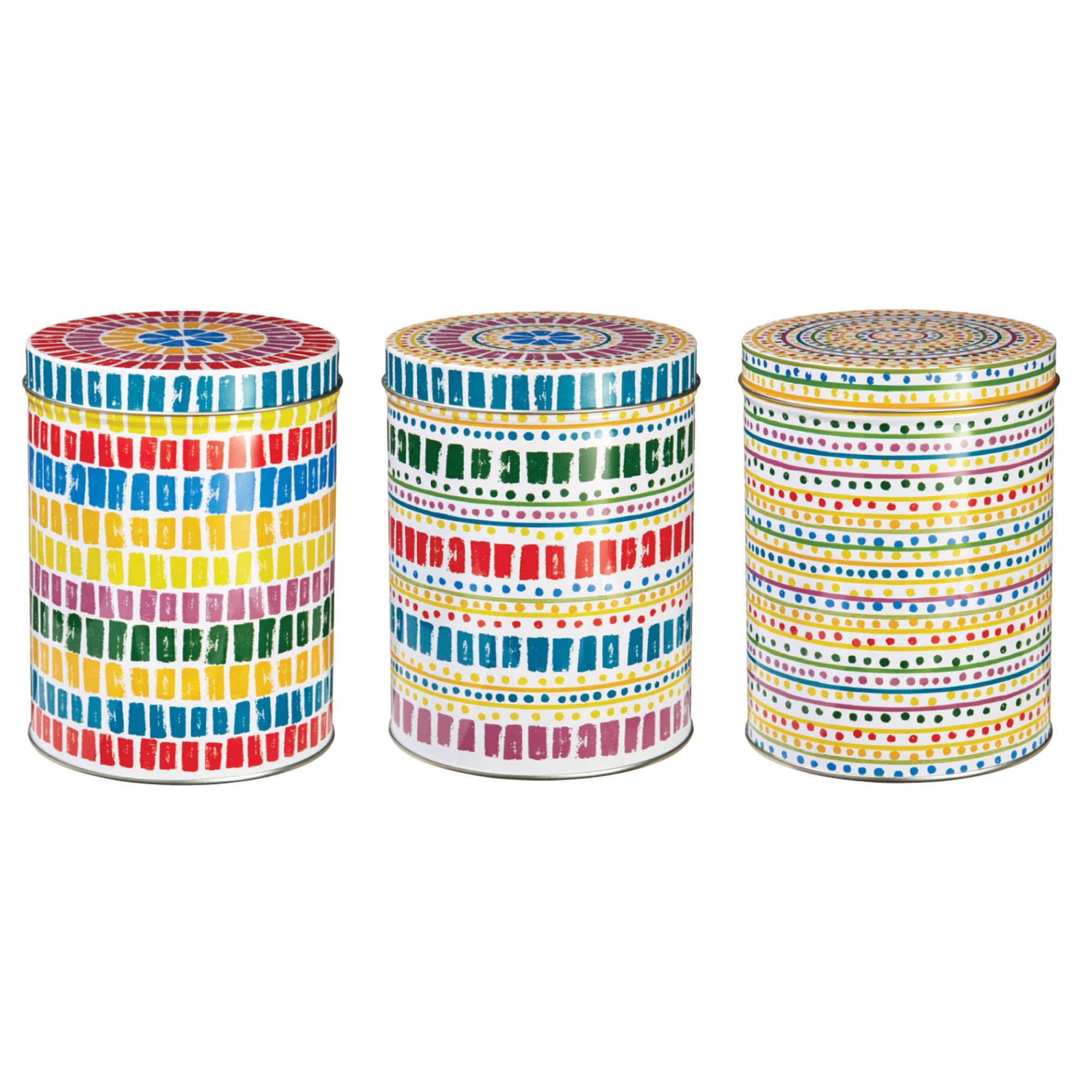 Image of Seville Set of 3 Storage Tins Yellow / Red