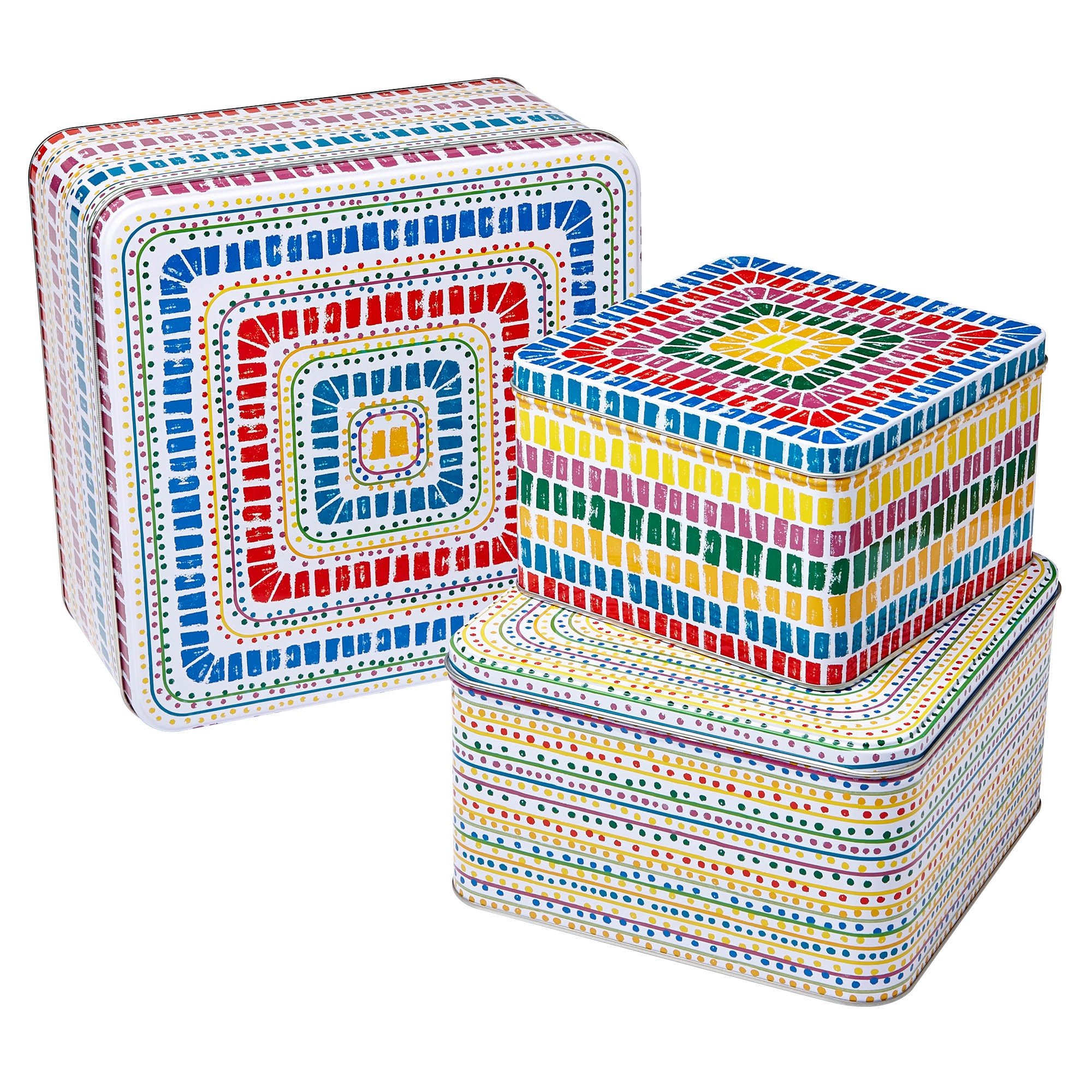 Image of Seville Set of 3 Square Tins Yellow / Red