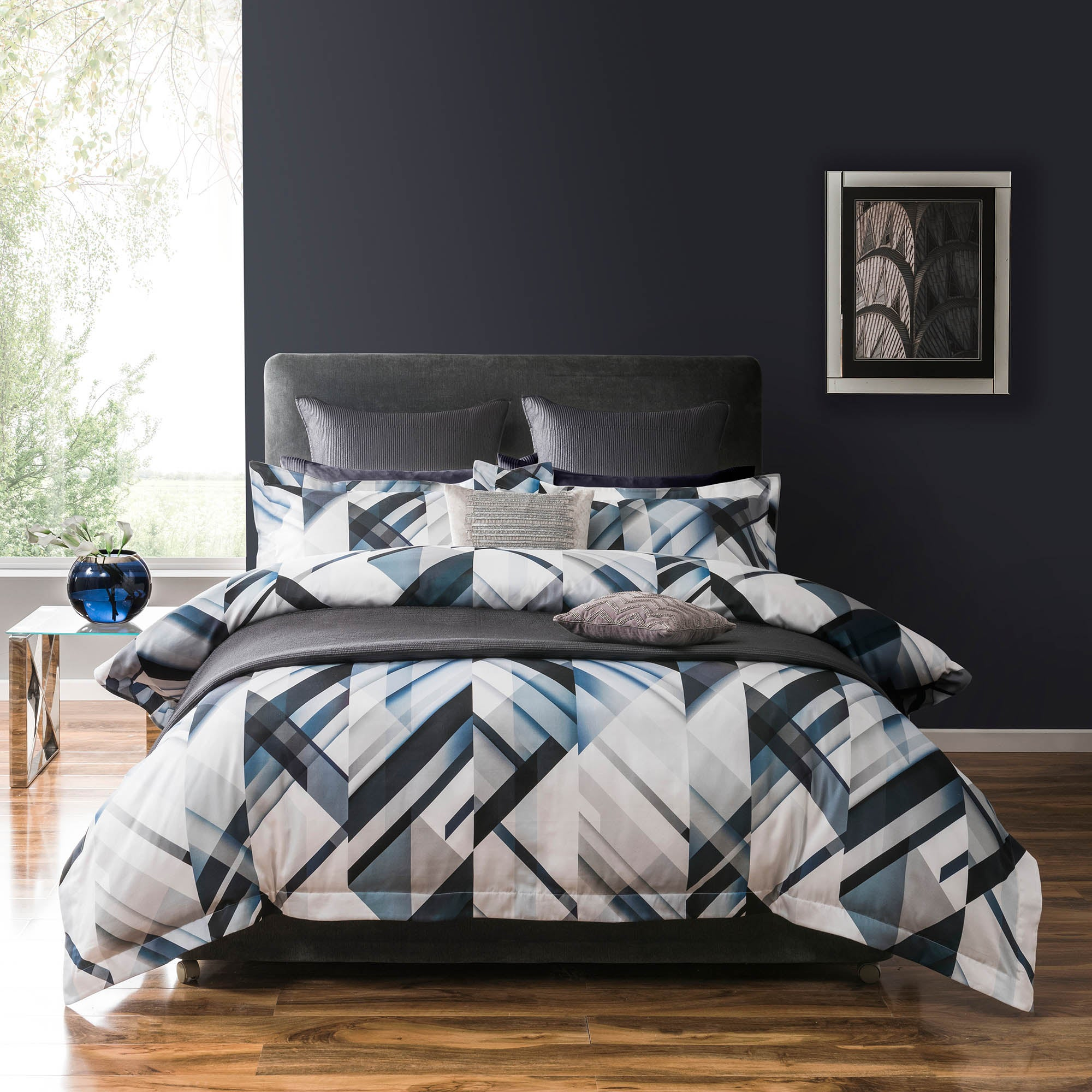 Image of 5A Fifth Avenue Brooklyn Digitally Printed 100% Cotton Blue Duvet Cover Blue