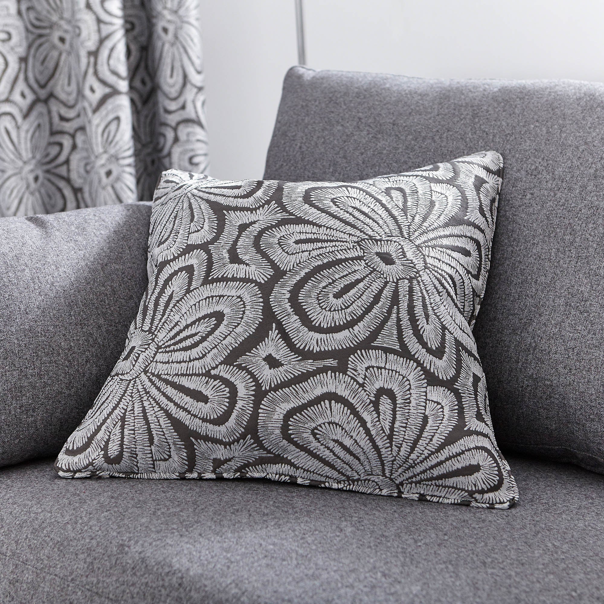 Image of Grey Retro Flower Cushion Grey