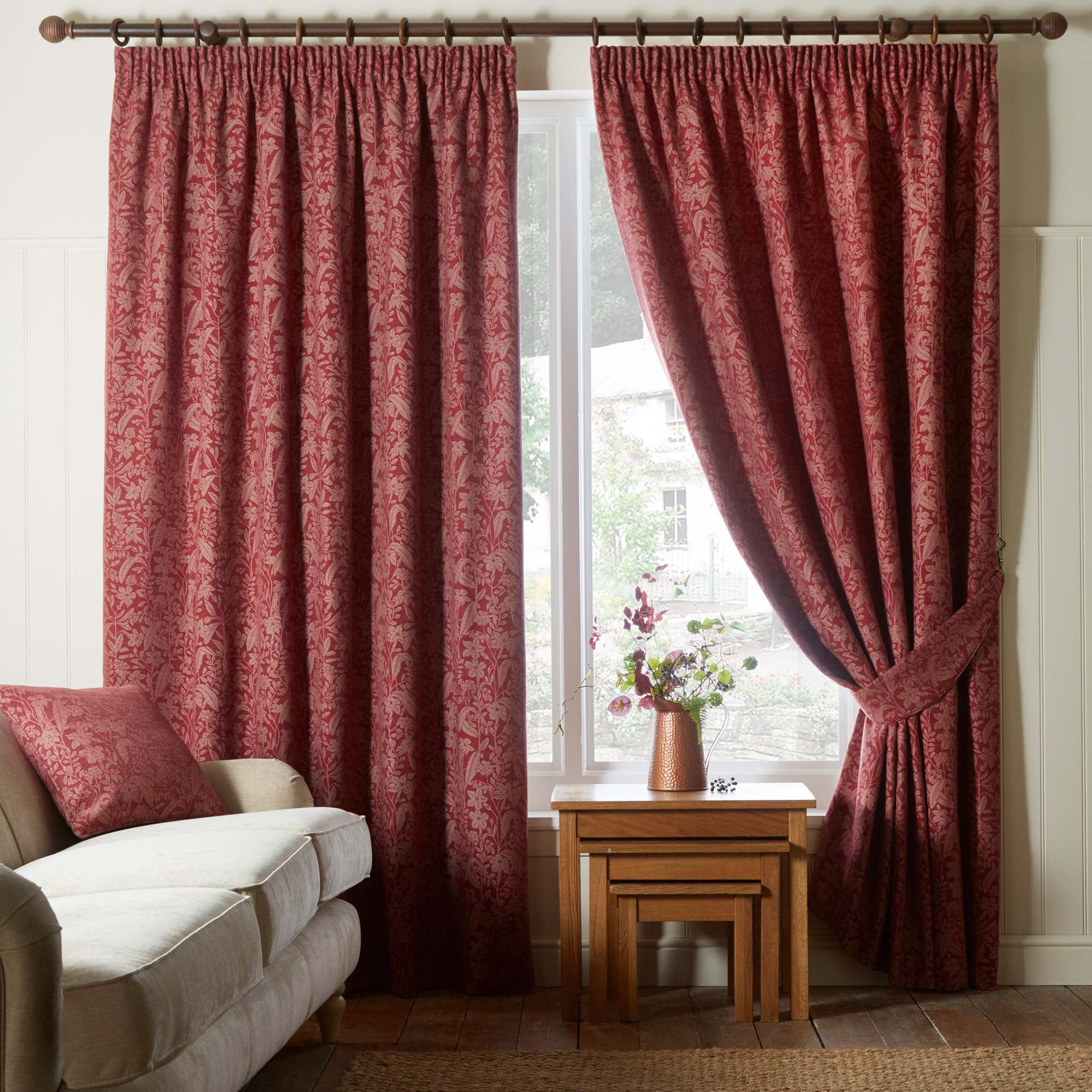 Image of Wildflower Red Pencil Pleat Curtains Red