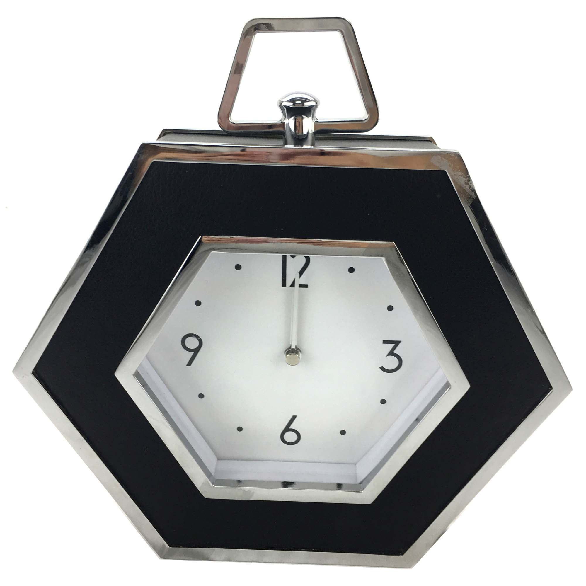 Image of 5A Fifth Avenue Black Faux Leather Mantle Clock Black