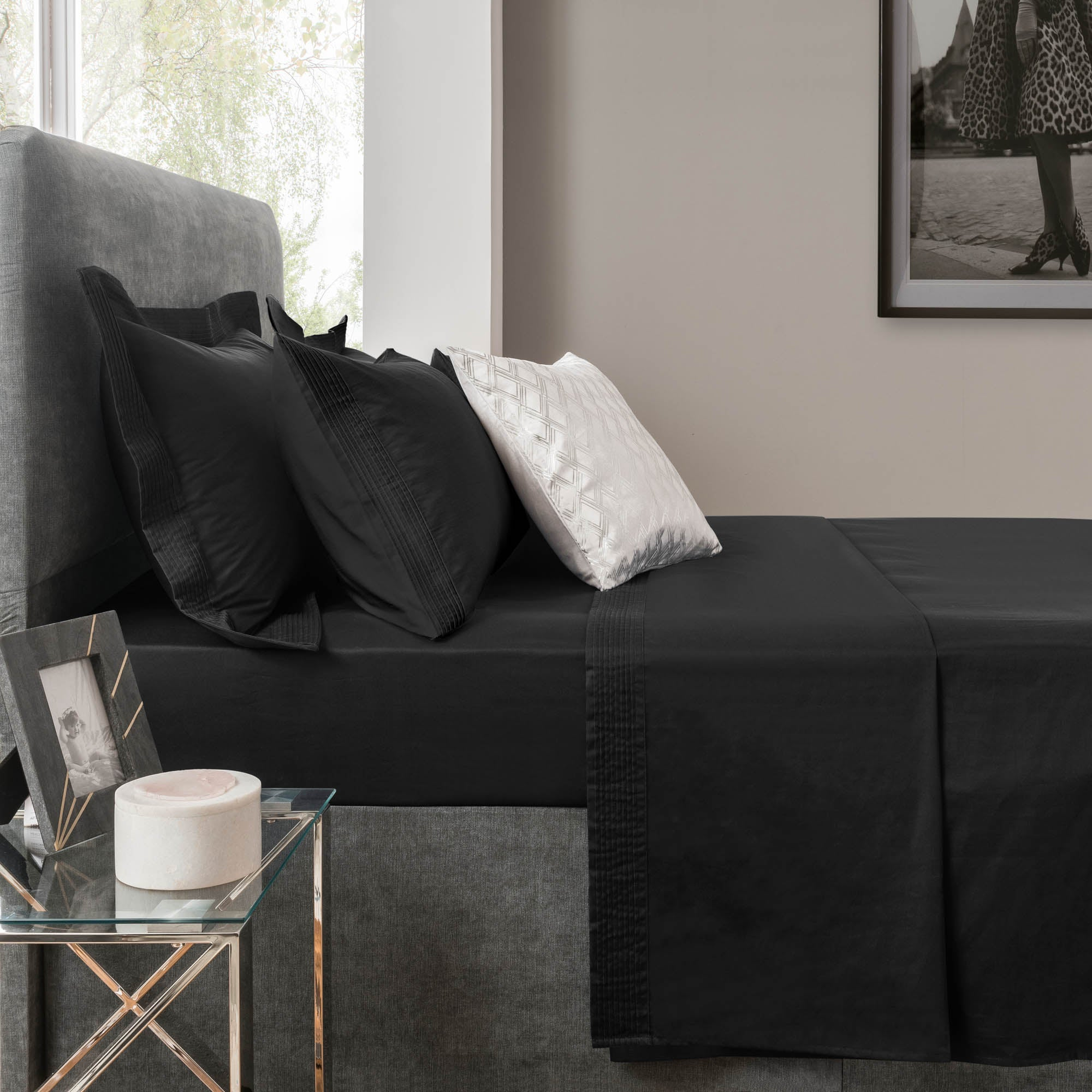 Image of 5A Fifth Avenue 300 Thread Count Modal Black Flat Sheet Panther Black