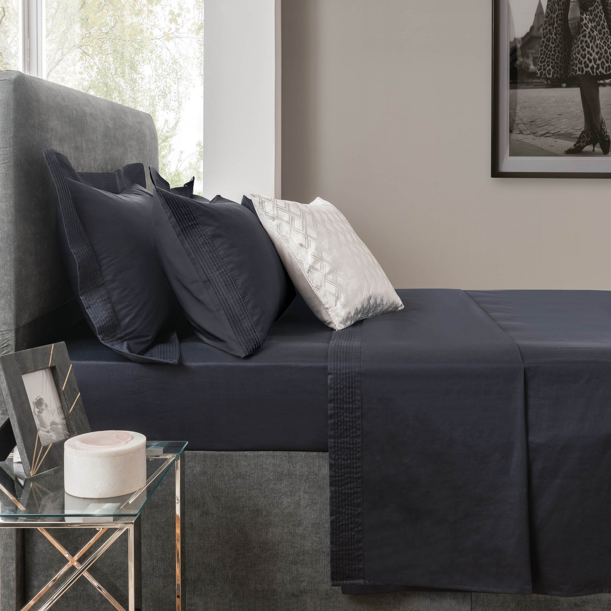 Image of 5A Fifth Avenue 300 Thread Count Modal Navy Flat Sheet Midnight Blue