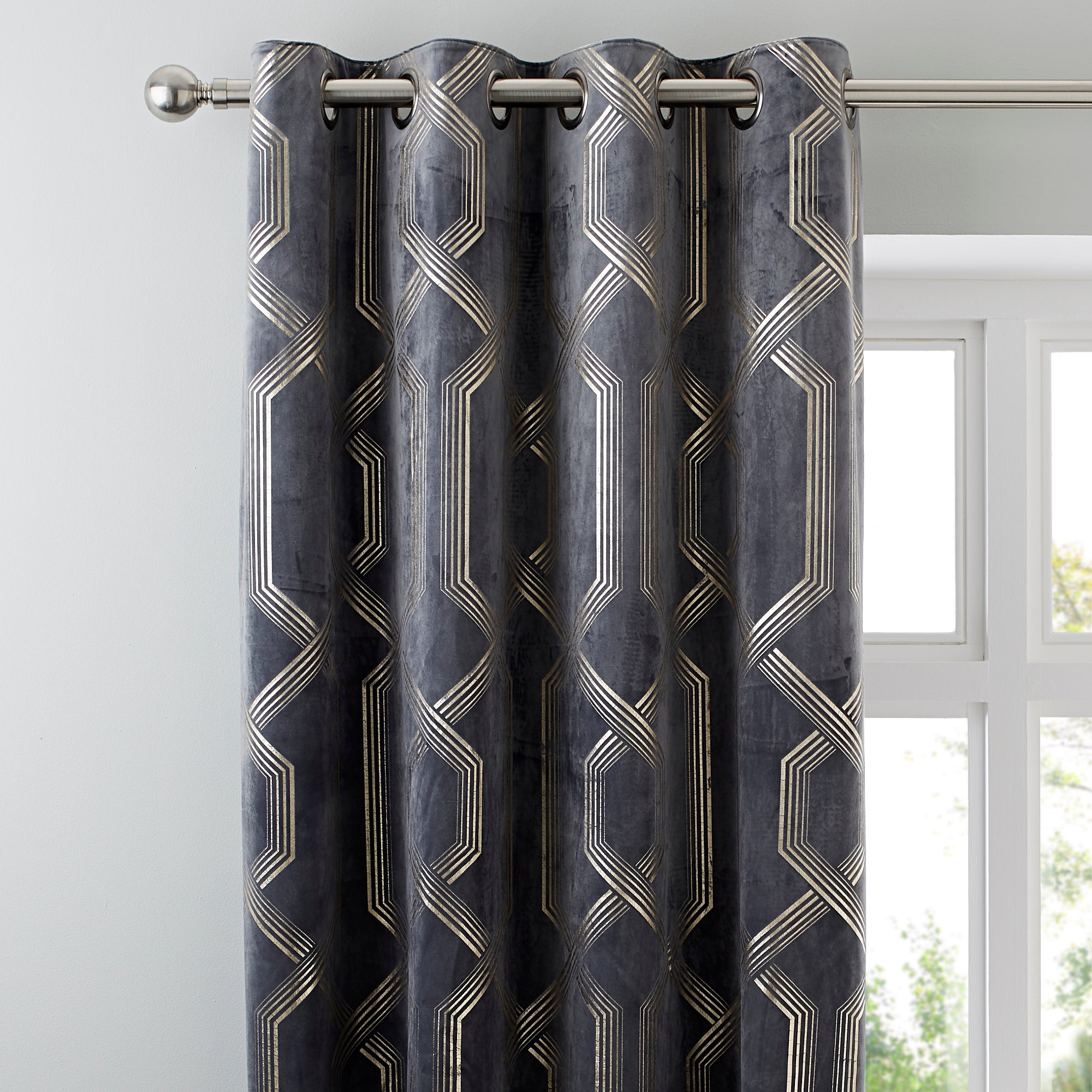 Image of 5A Fifth Avenue Bergen Charcoal Eyelet Curtains Charcoal Grey