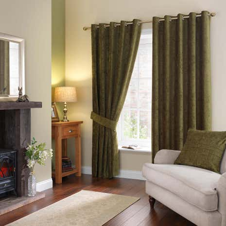 Chenille Forest Green Eyelet Curtains