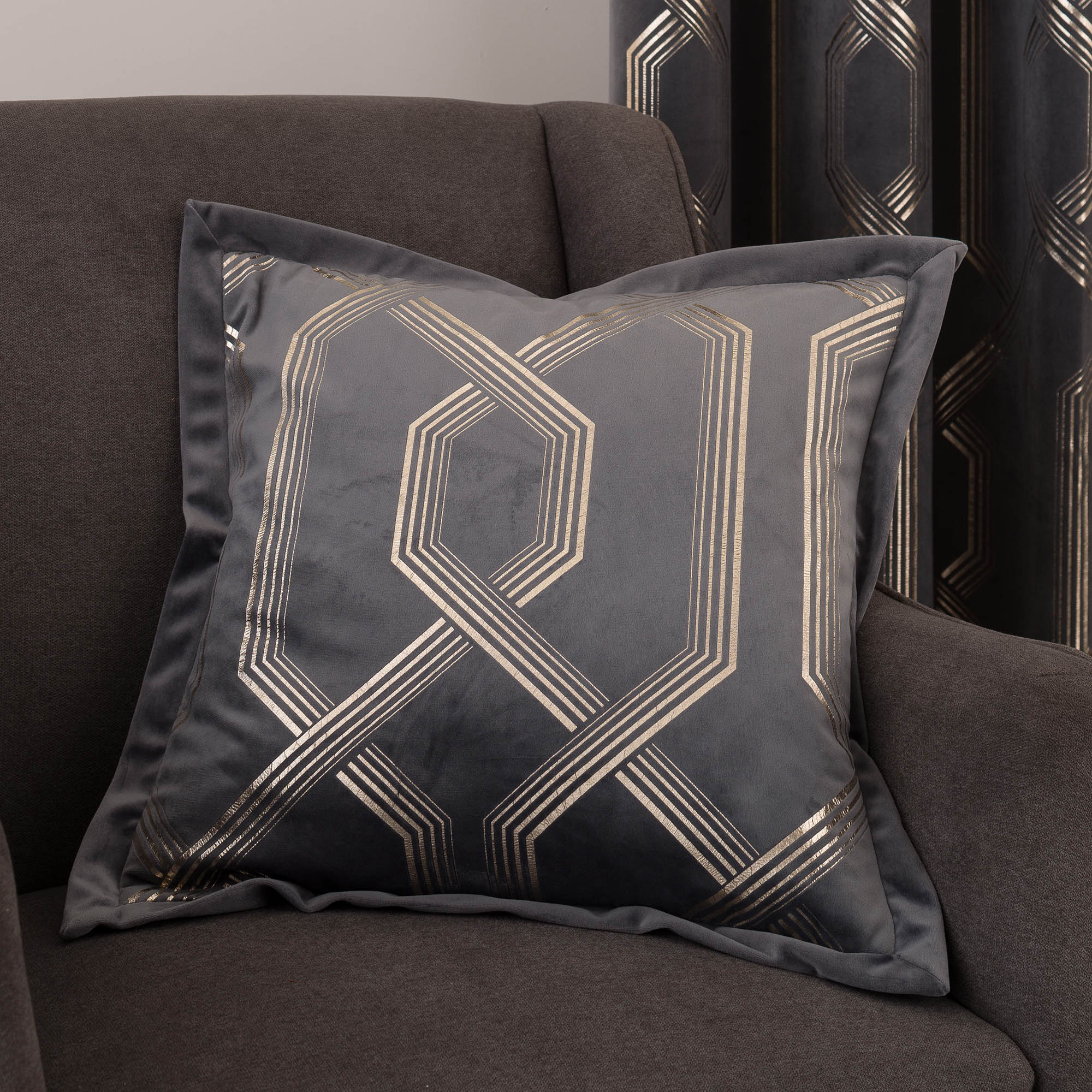 Image of 5A Fifth Avenue Bergen Charcoal Cushion Charcoal