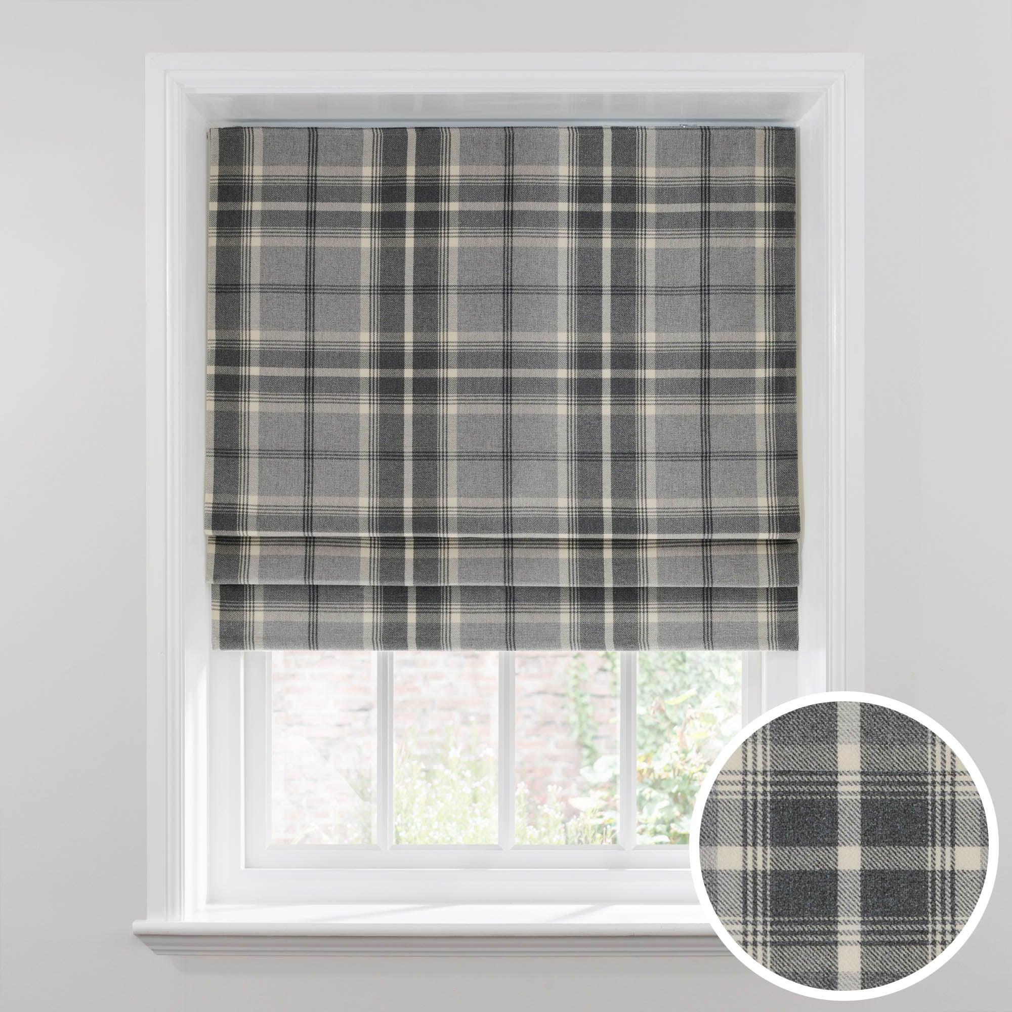 Photo of Highland check dove grey blackout roman blind dunelm -grey-