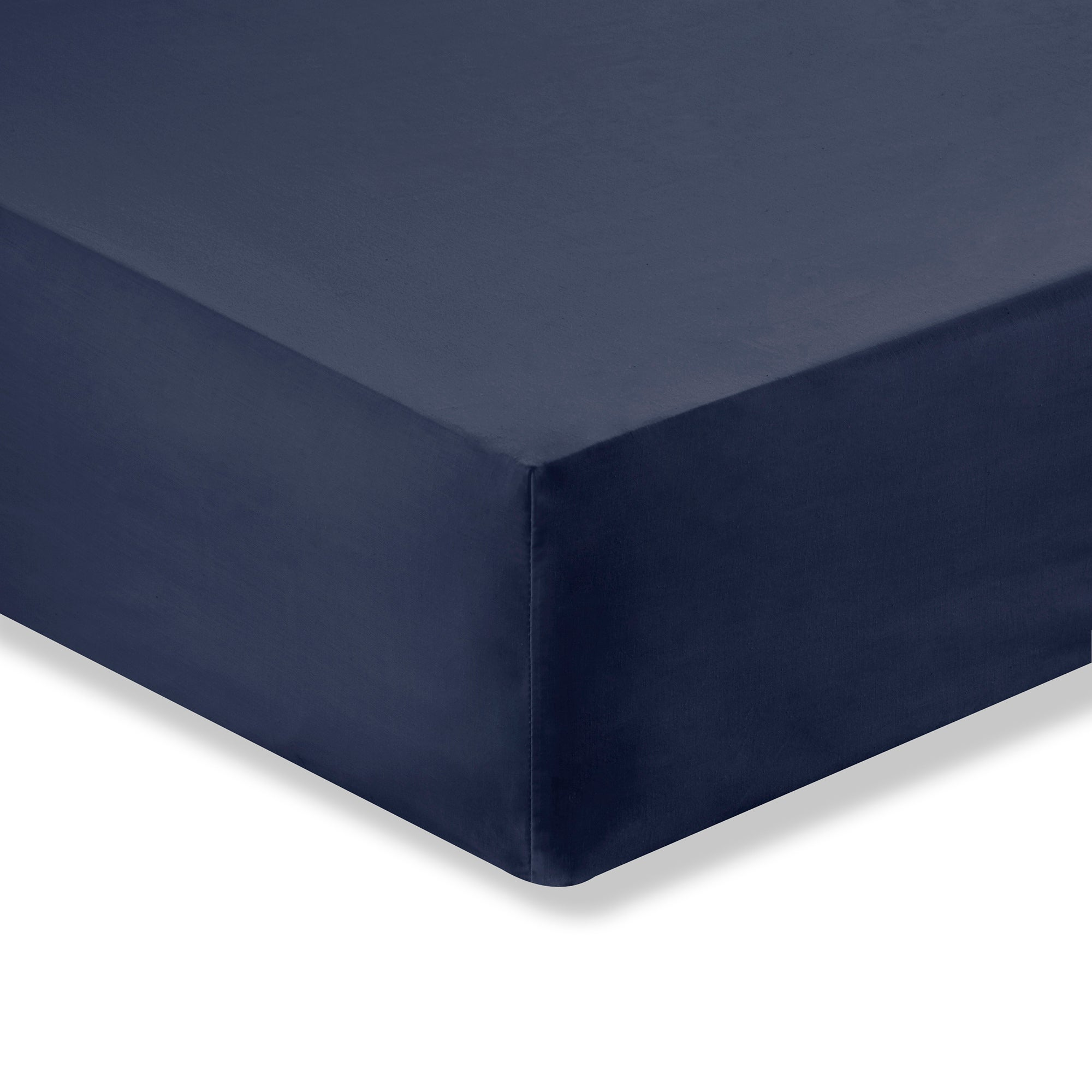 Image of 100% Brushed Cotton 25cm Navy Fitted Sheet Navy