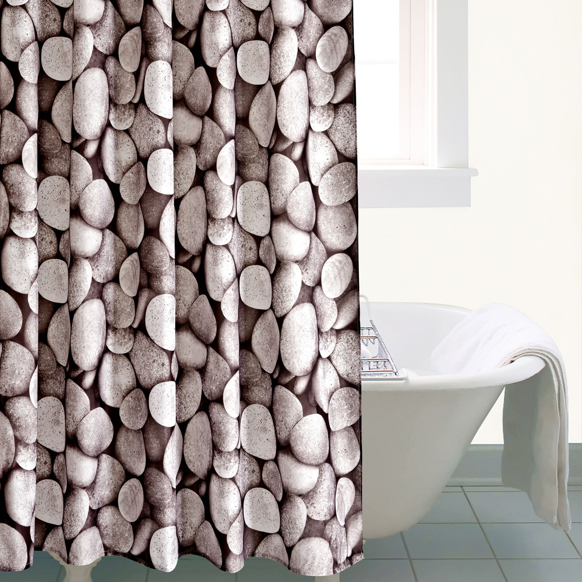 Photo of Pebbles shower curtain grey
